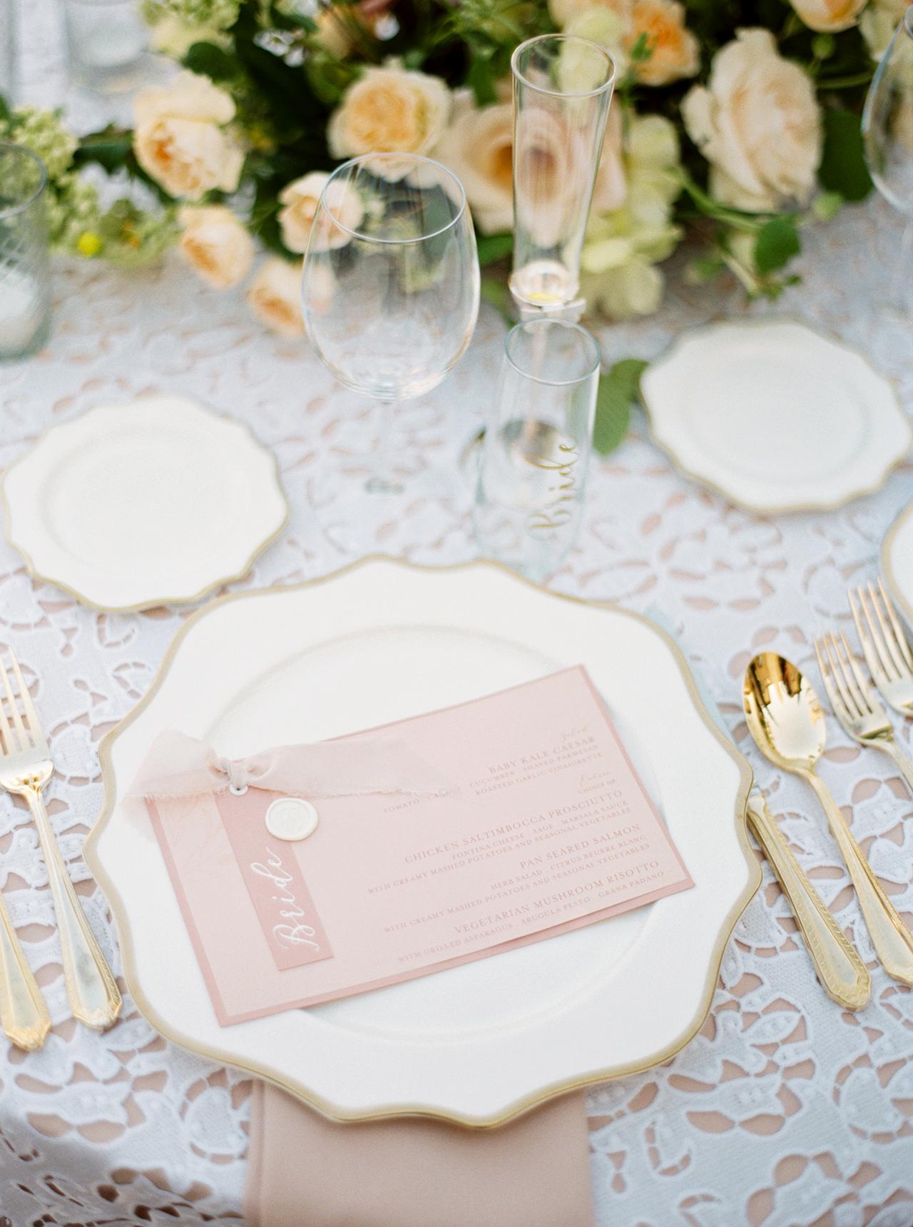 wedding reception blush-hued place setting menu