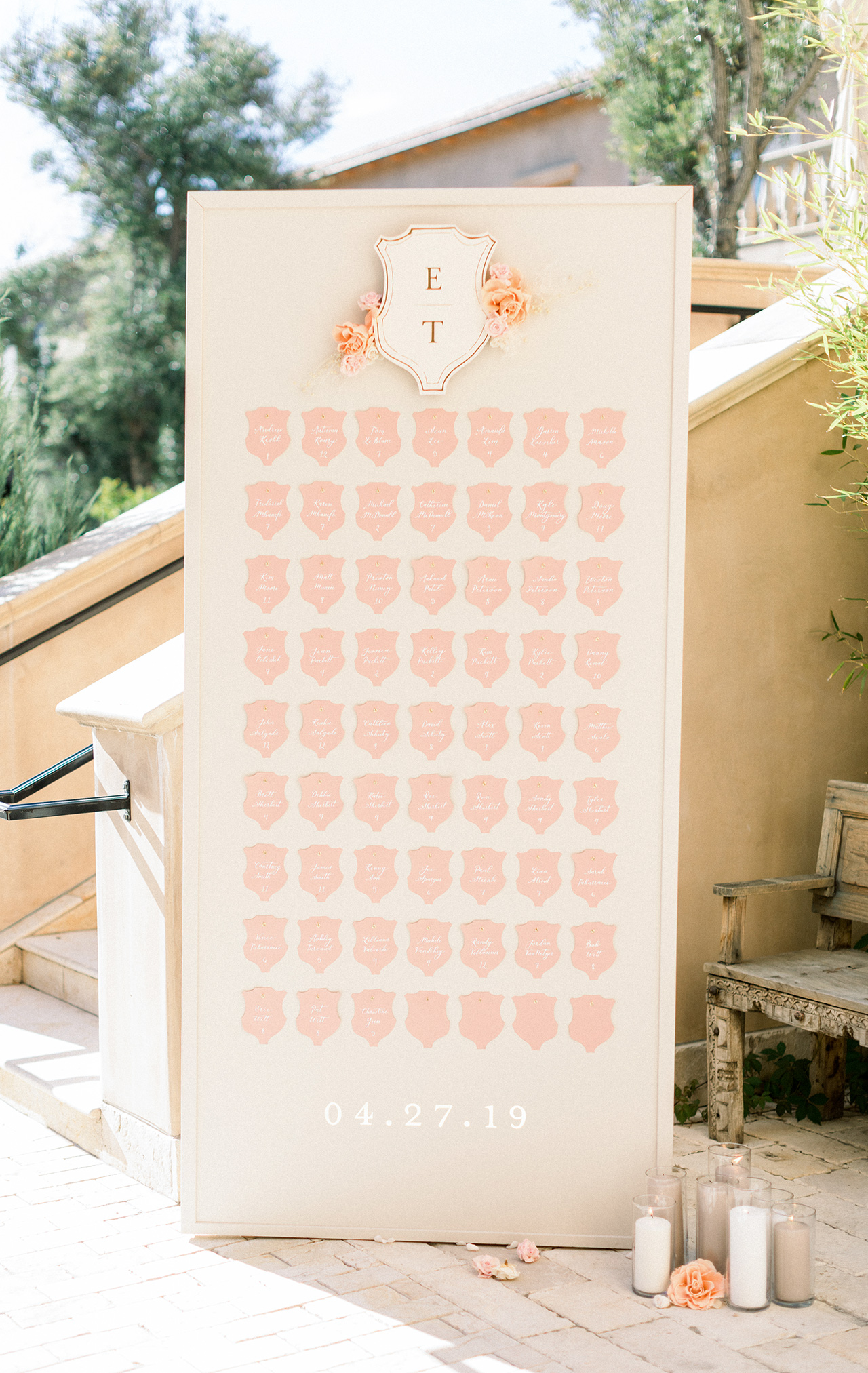 monogrammed seating chart display crest shape cards