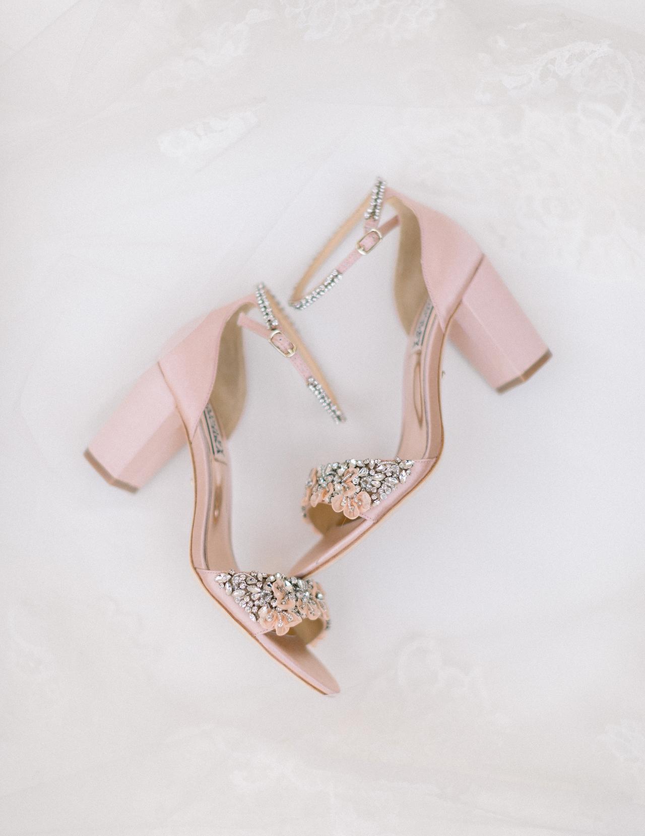 pink peep toed pumps crystal floral decor