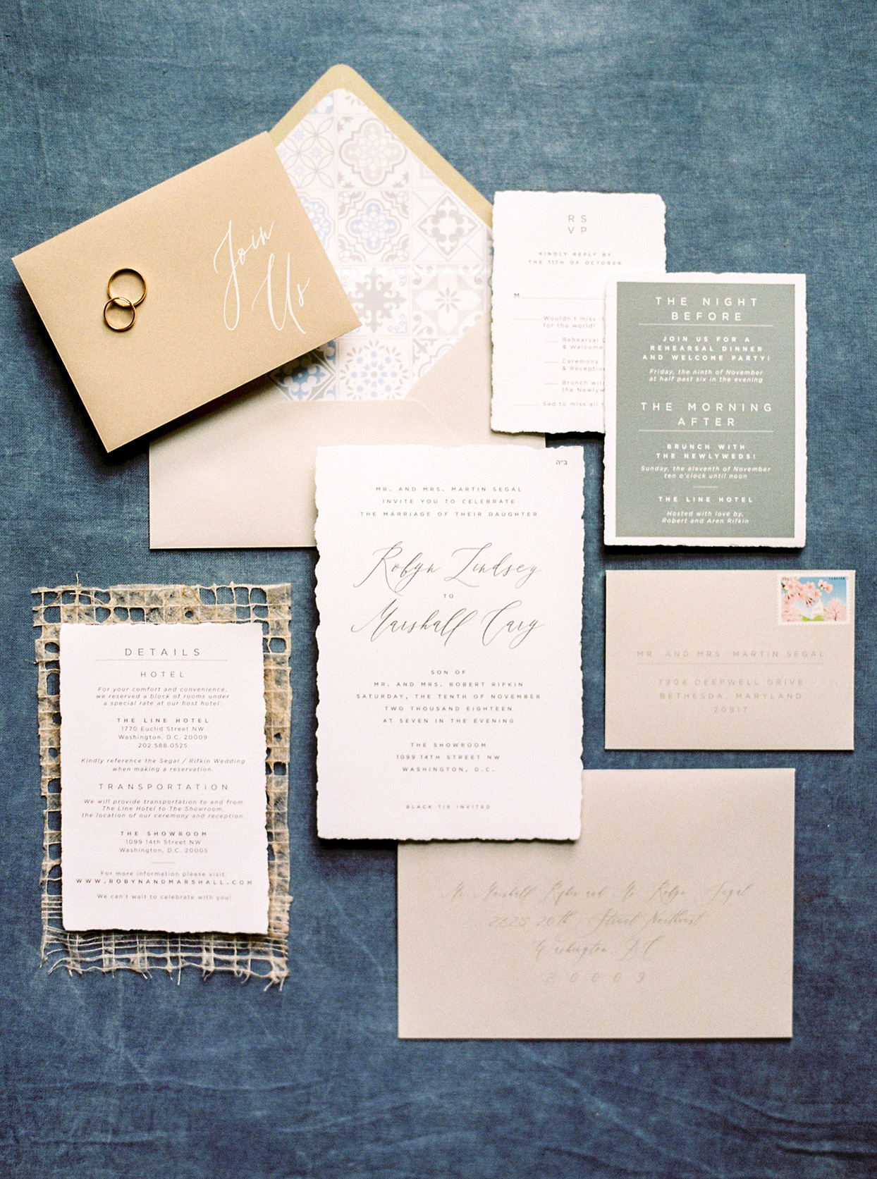 muted bohemian fall wedding invitations