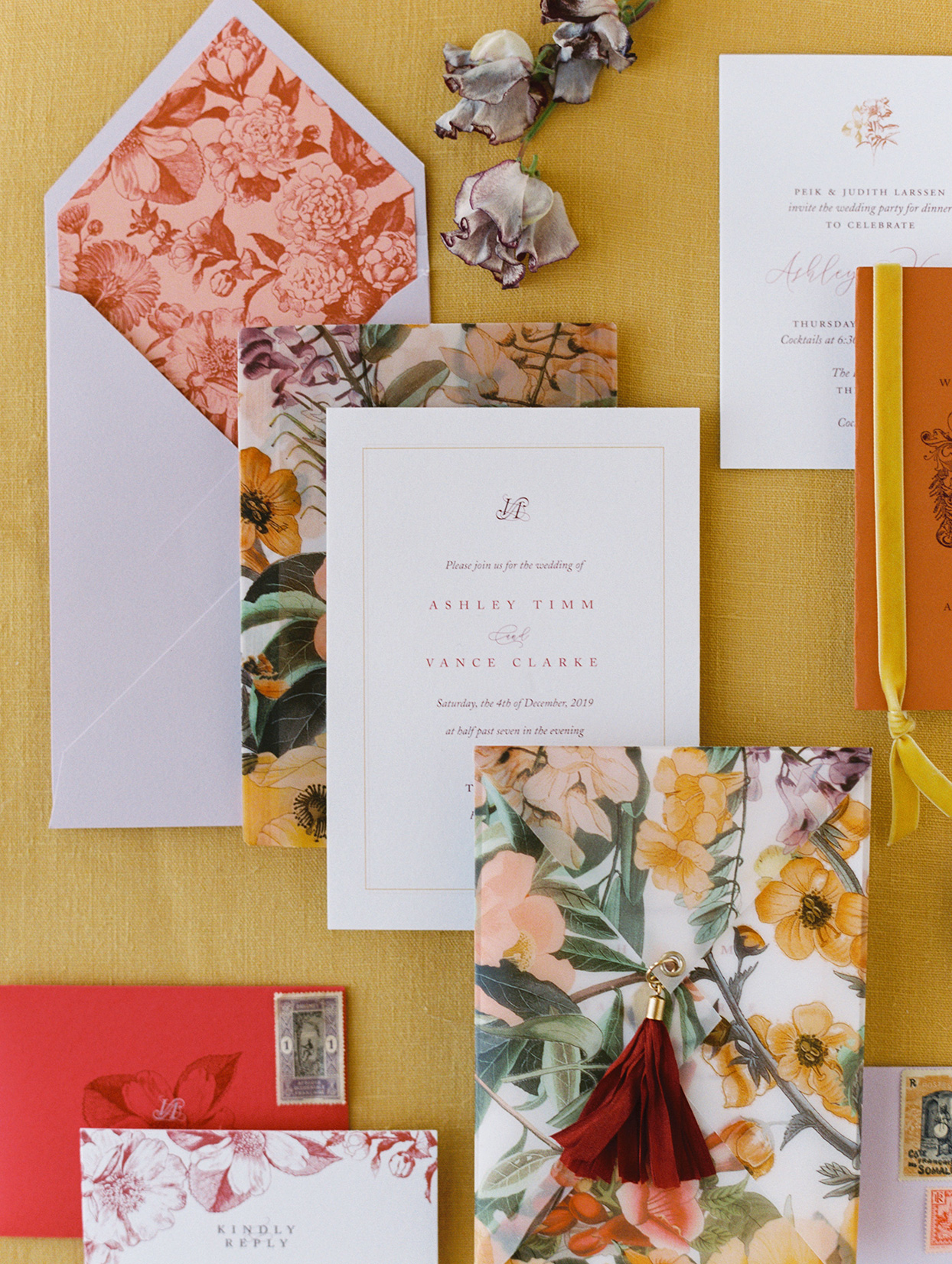 floral red and yellow fall wedding invites