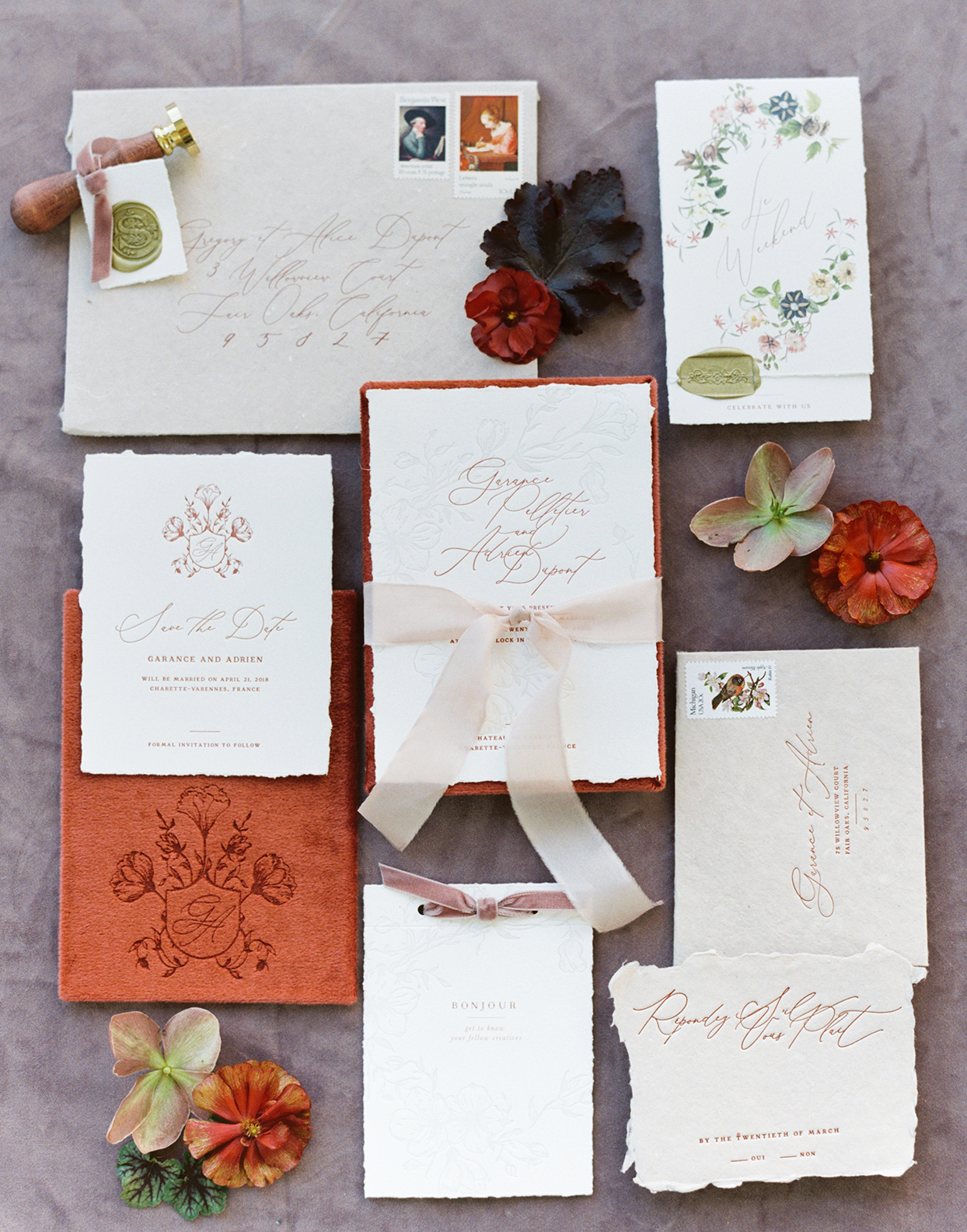 burnt orange floral fall wedding invitations