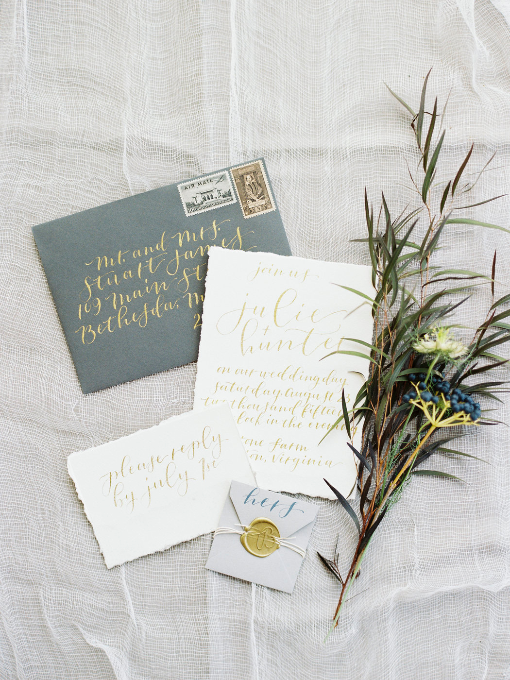 gold and olive green fall wedding invitations