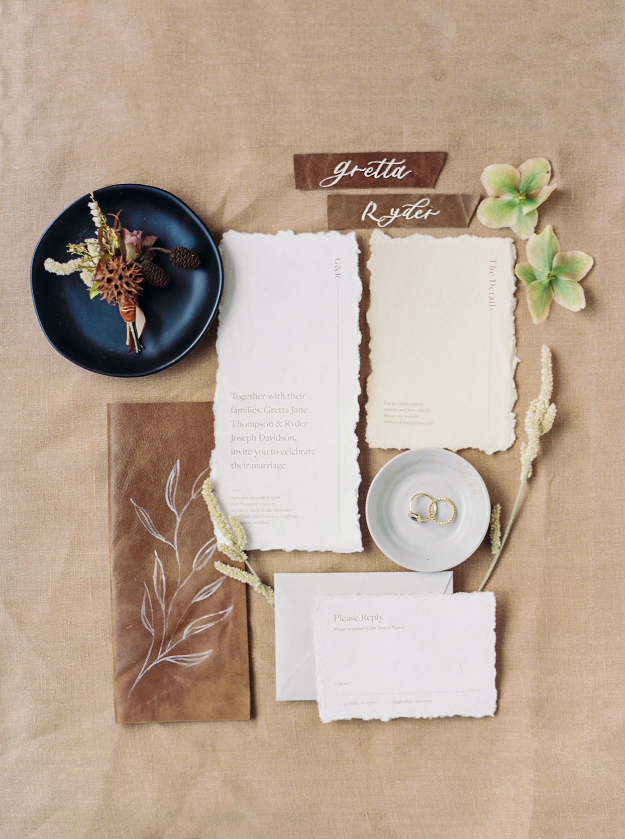 hang painted leather and white fall wedding invitations