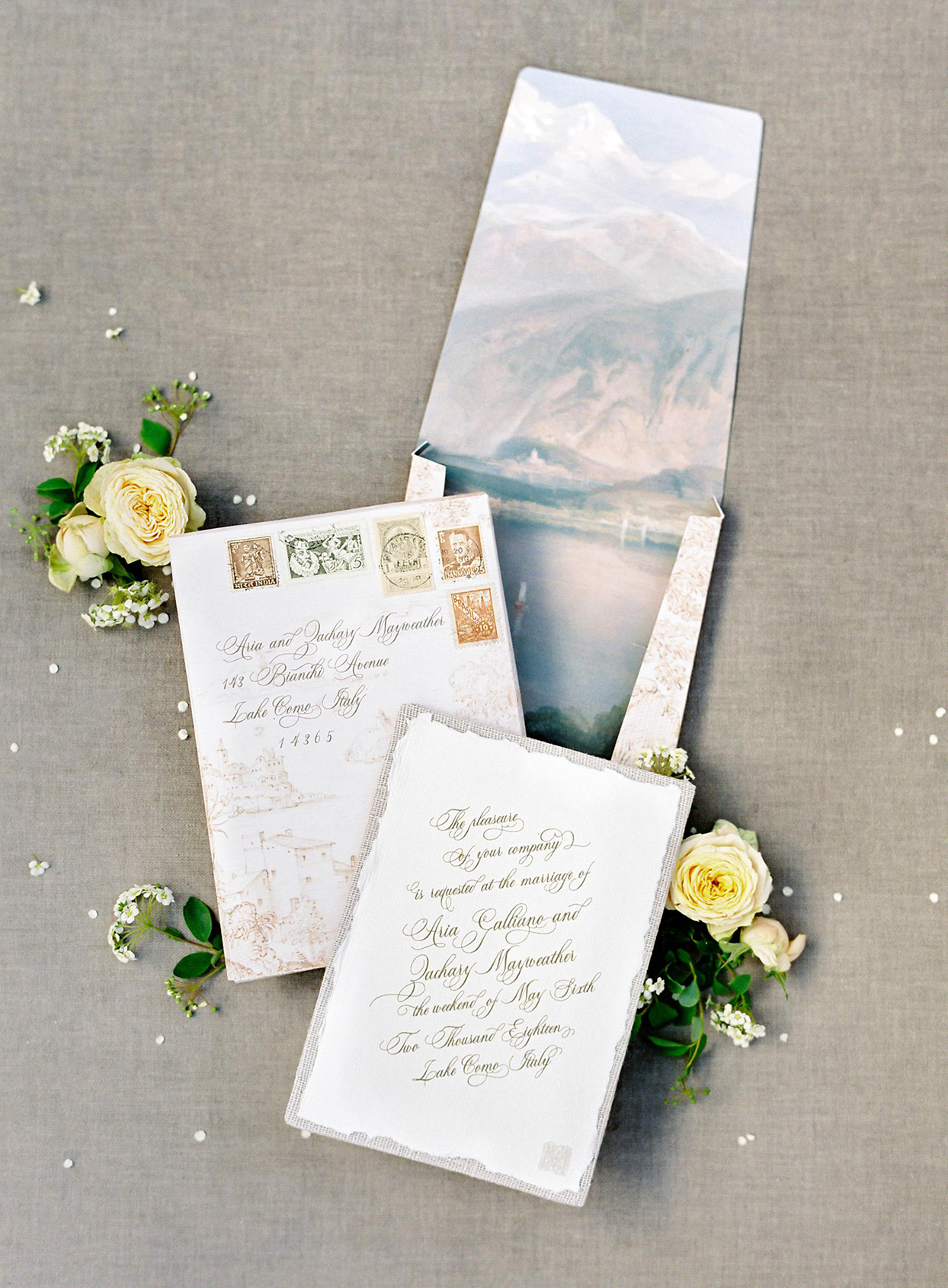 mountain design envelope fall wedding invitations