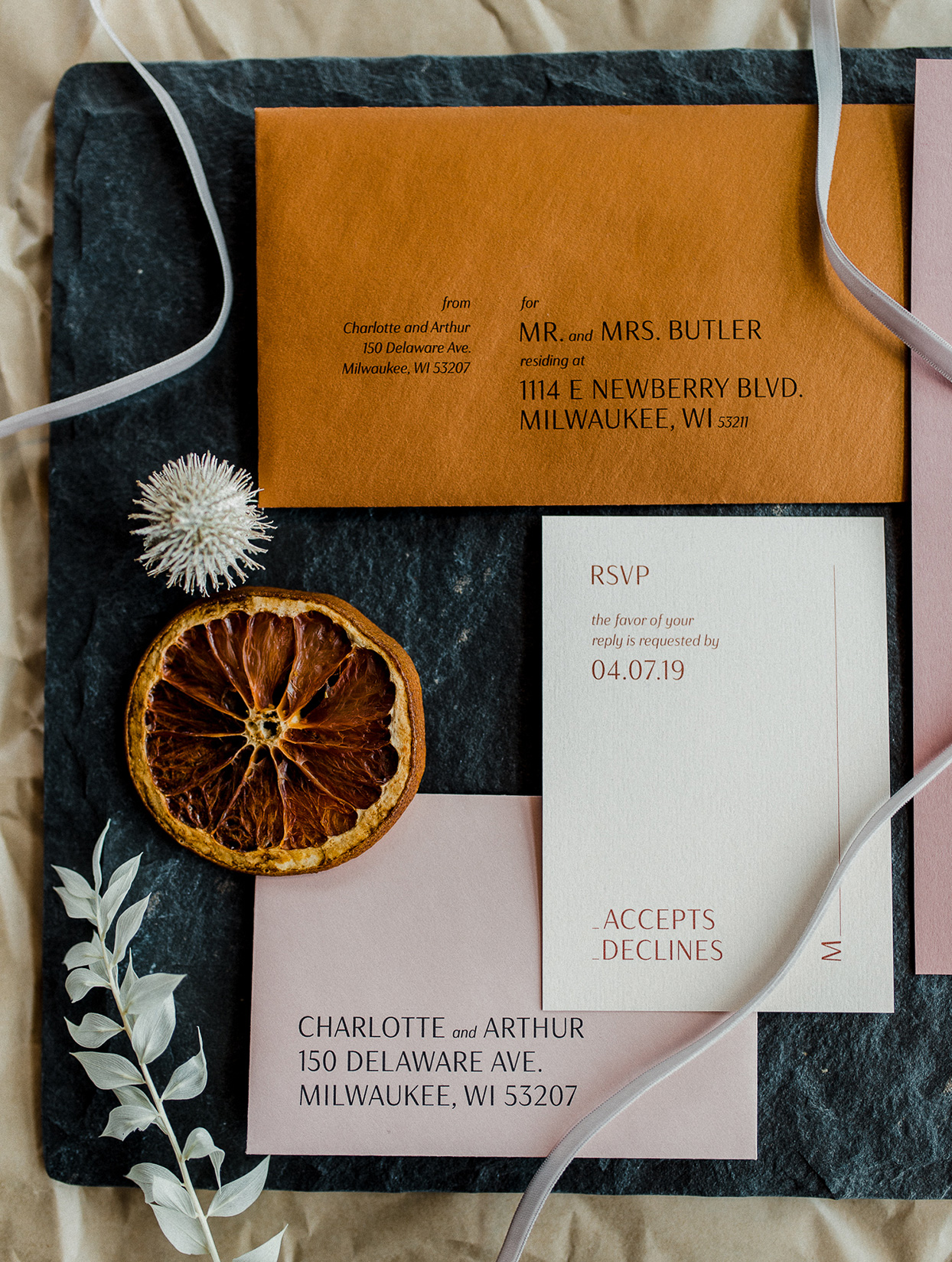 modern mustard and dark blue fall wedding invitations