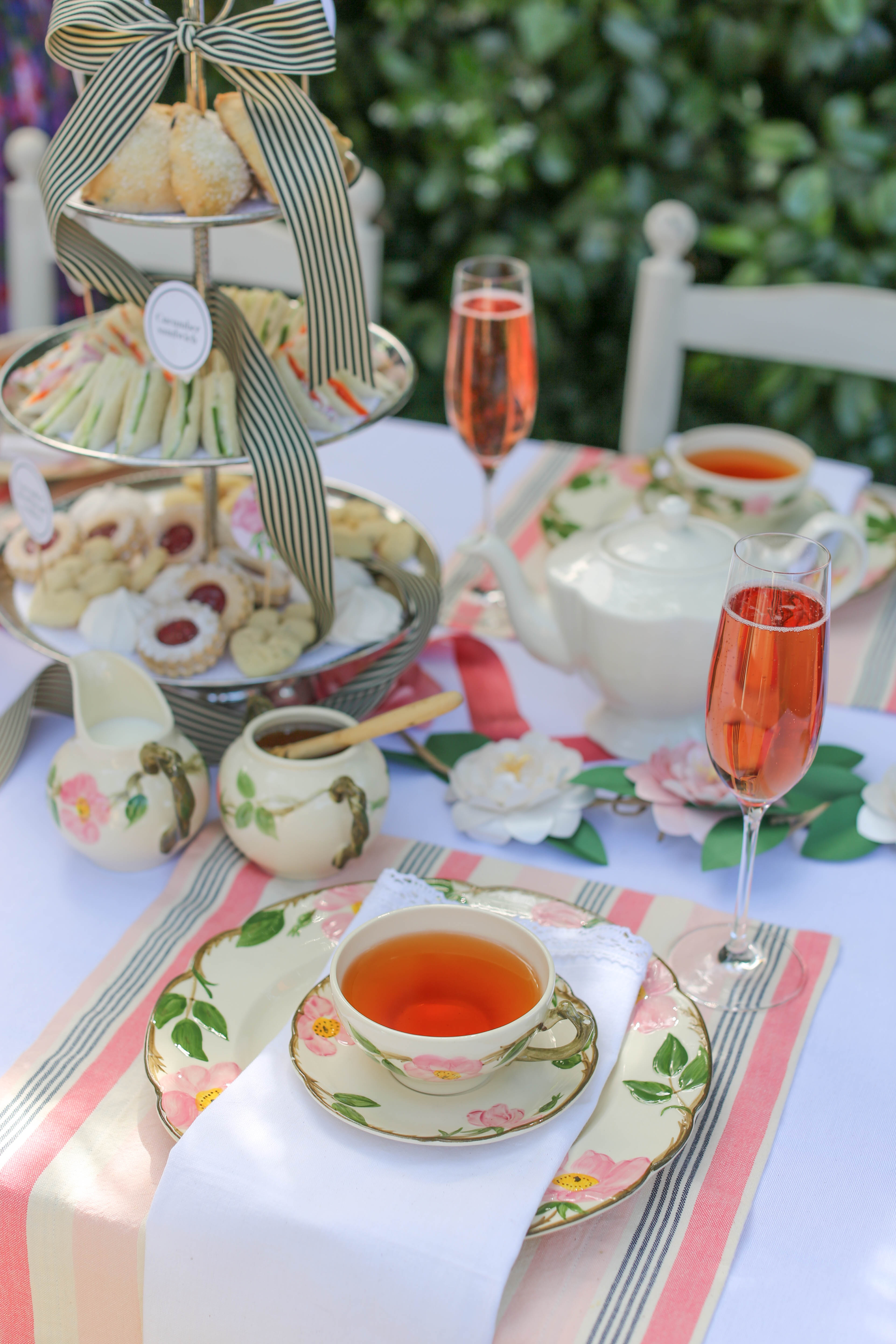 bridal shower tea party with floral and striped details