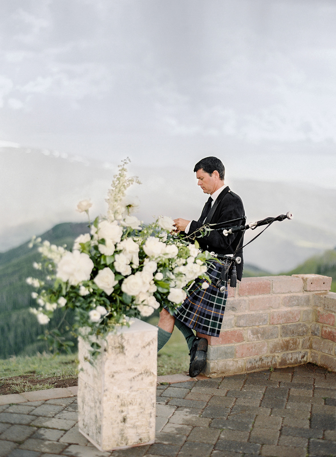 bigpipe player wedding musician outdoor mountain view