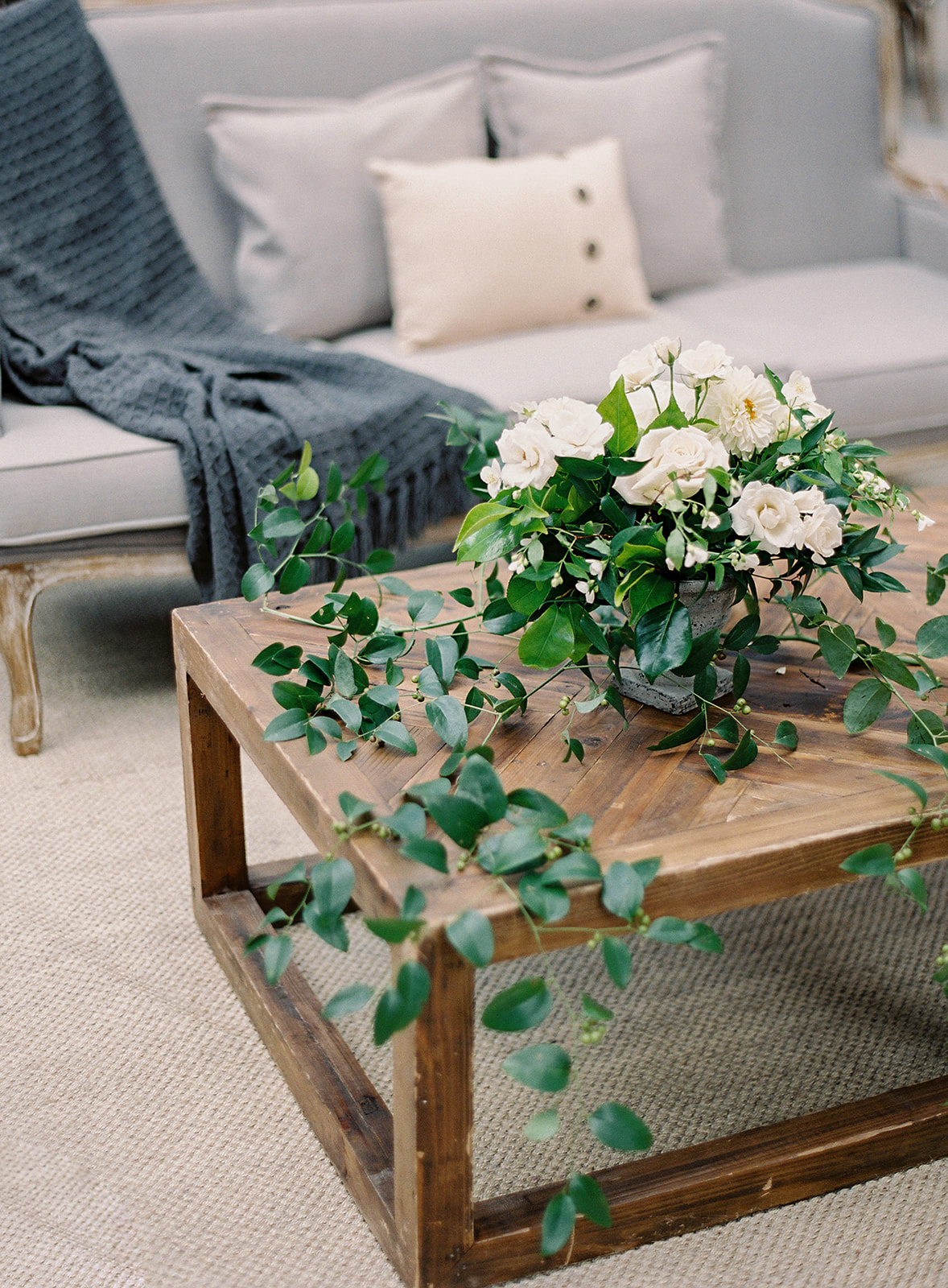 wedding reception seating lounge wood coffee table