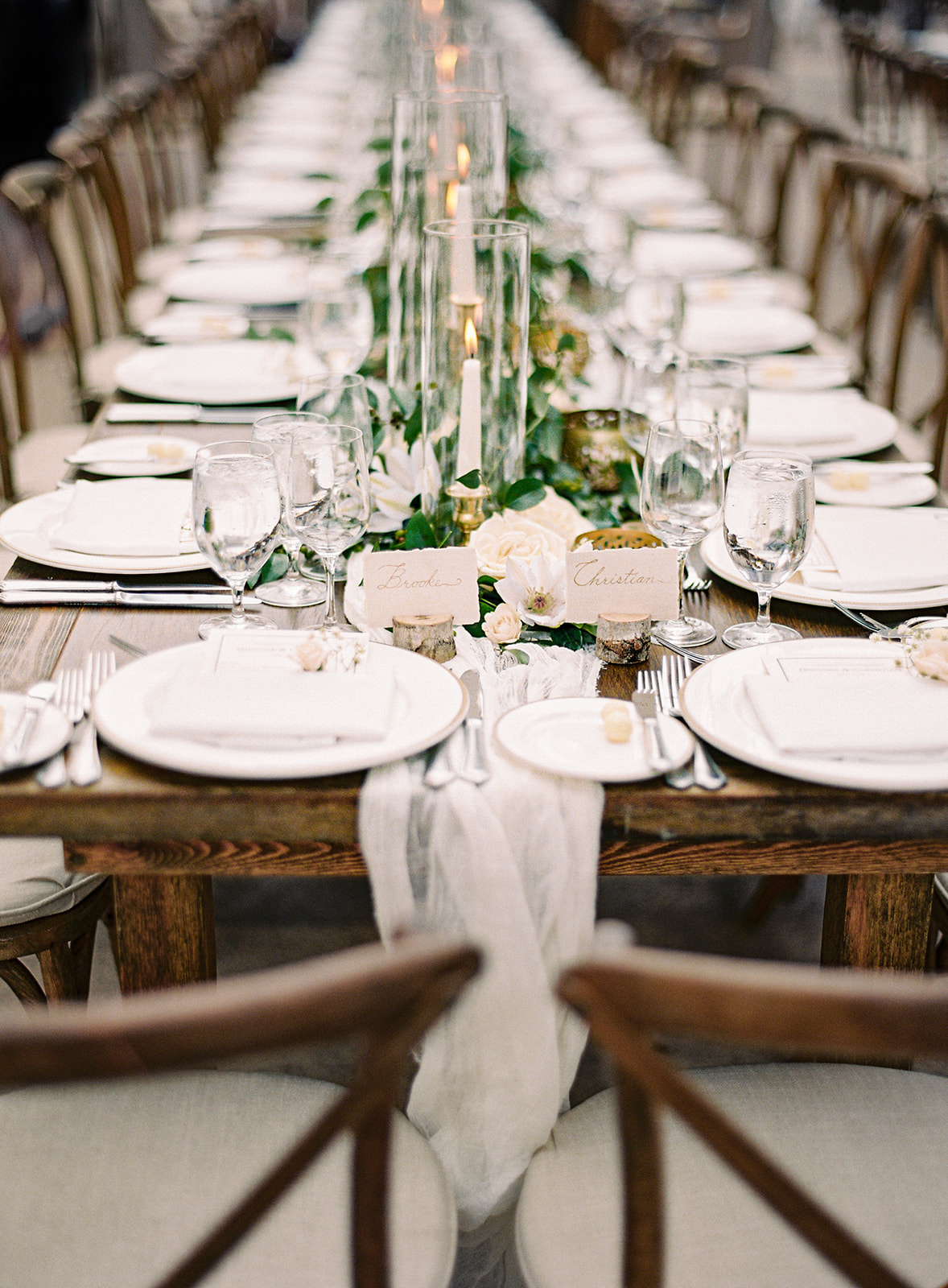 wedding reception wooden tables whimsical theme