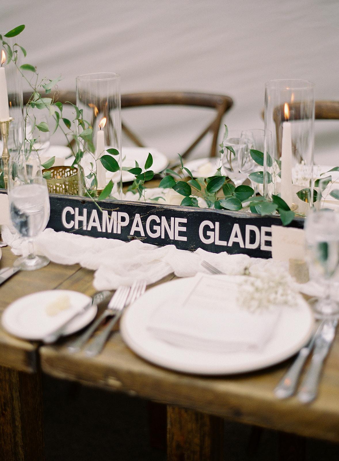creative name ski signs reception tables