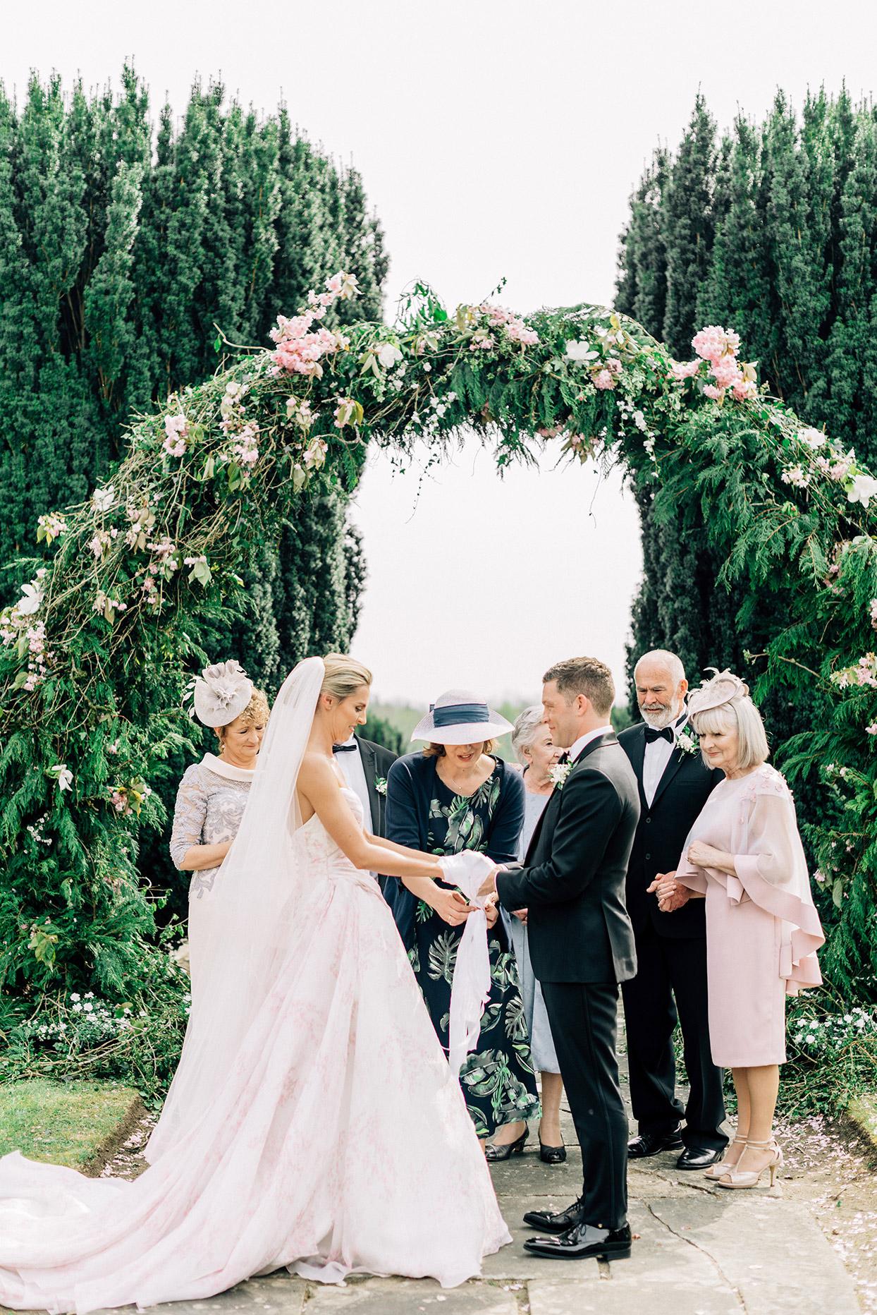 couple wedding irish handfasting ceremony