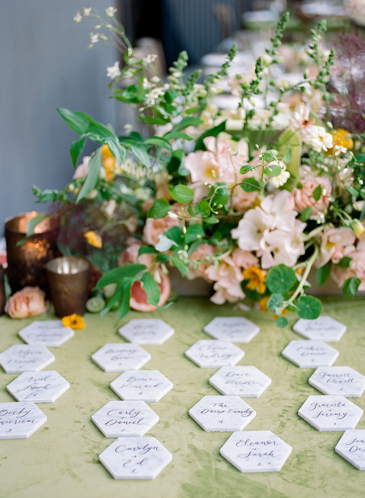 nina devon wedding escort cards hexagon slabs