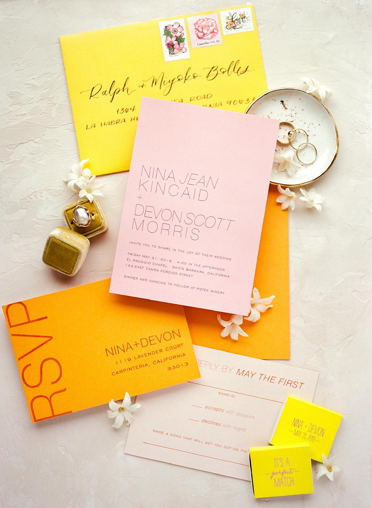 nina devon citrus themed wedding invites
