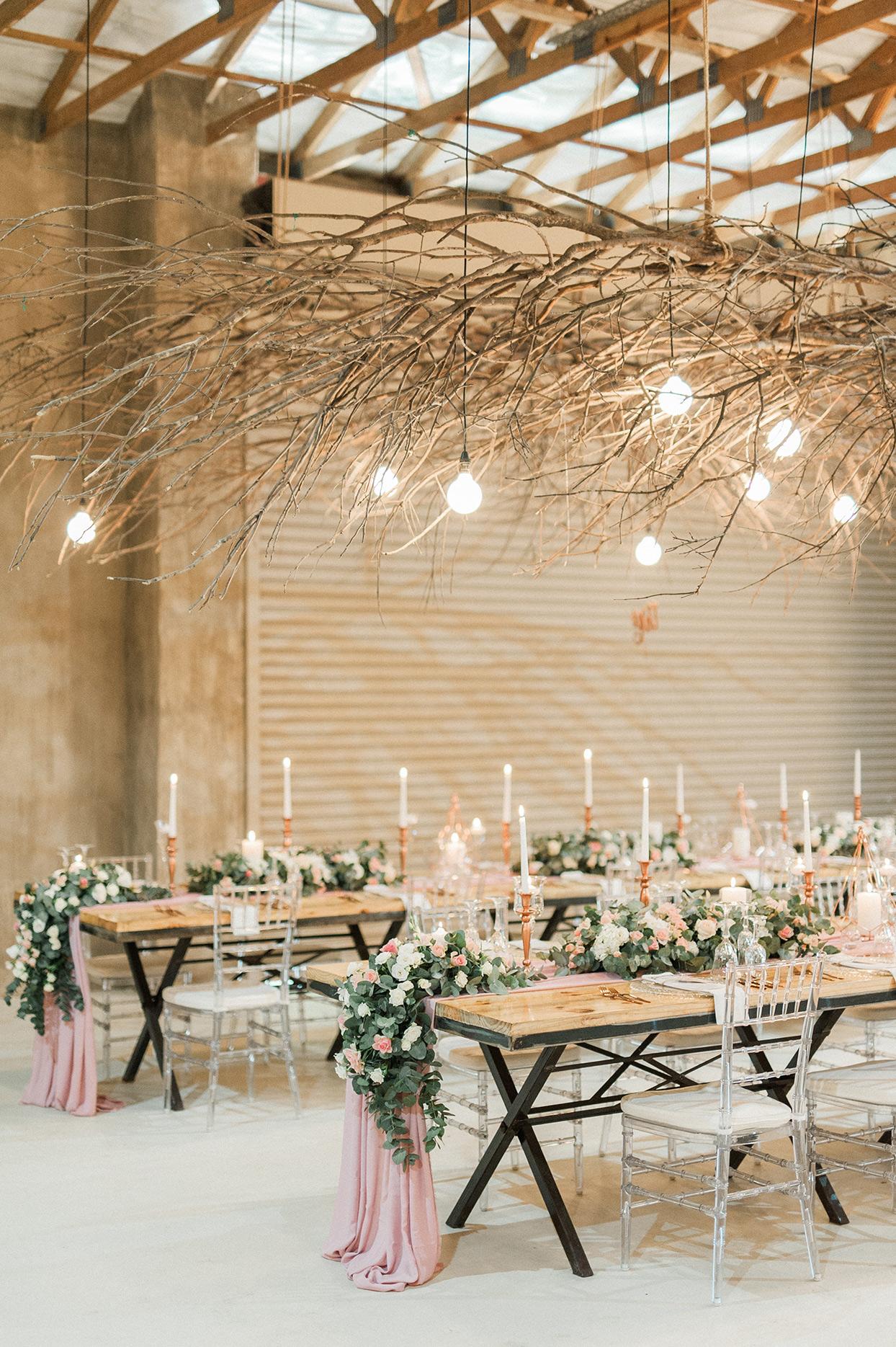 twig branch hanging wedding decor