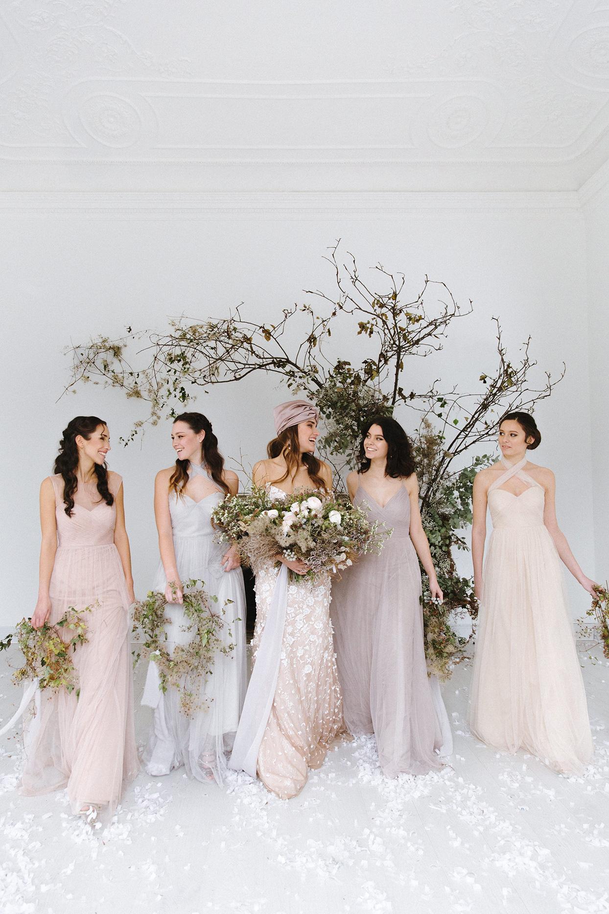 twig branch bridesmaid bouquets wedding decor