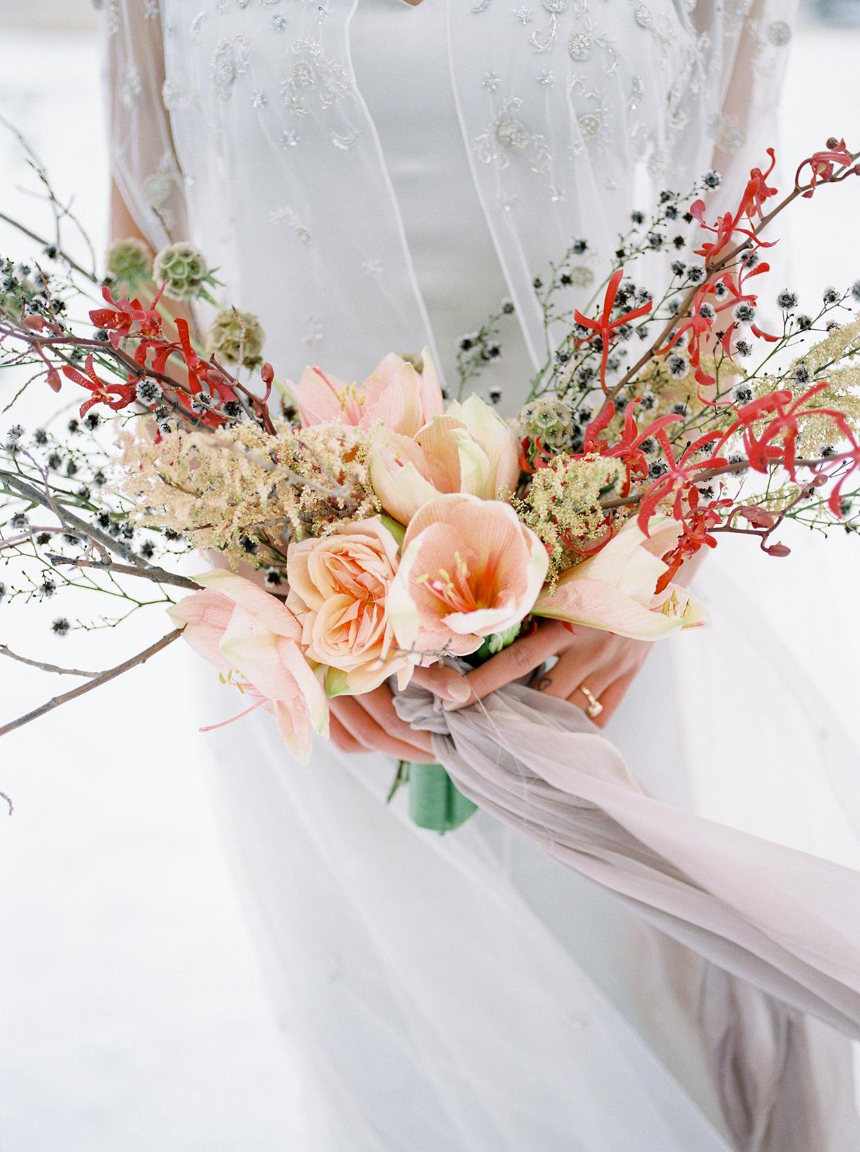 contemporary twig branch wedding bouquet
