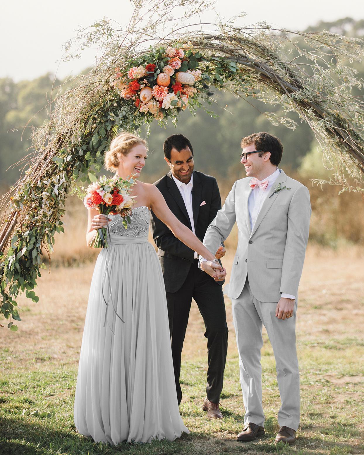 anna timothy wedding vows under twig branch arch