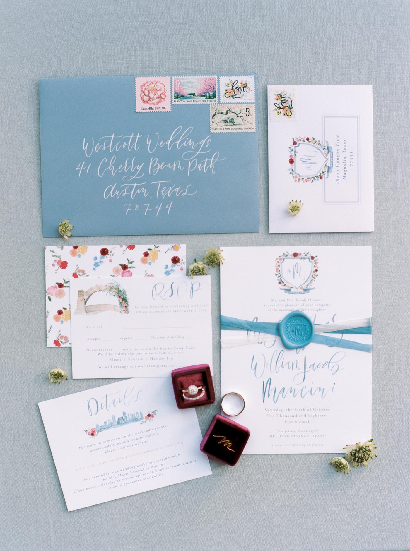 monogram colorful blooms watercolor wedding invites