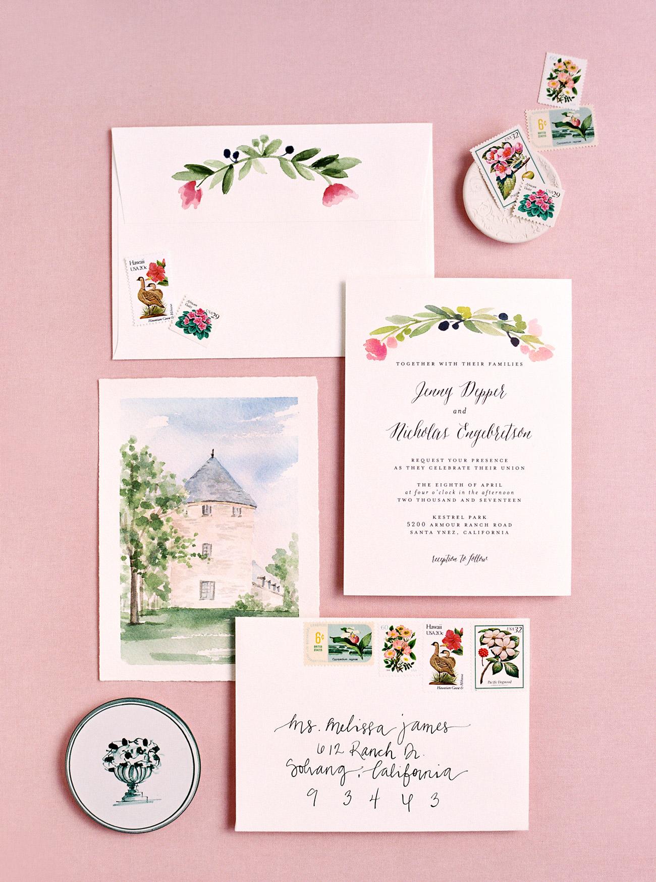 venue painting watercolor wedding invites