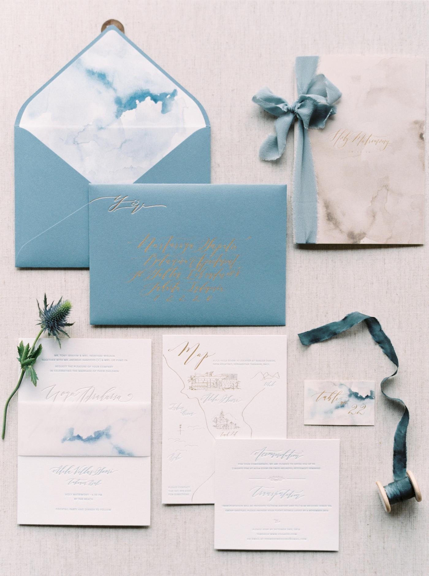 blue wave watercolor wedding invites