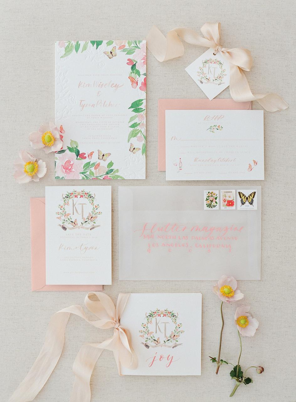 colorful florals butterflies watercolor wedding invites