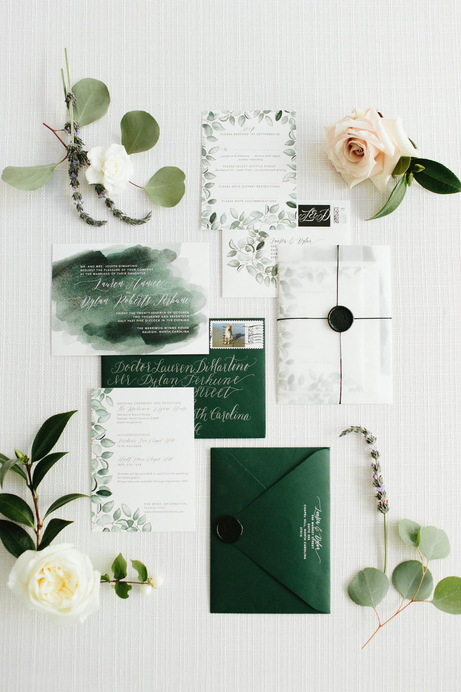 ombré green leaf frame watercolor wedding invites