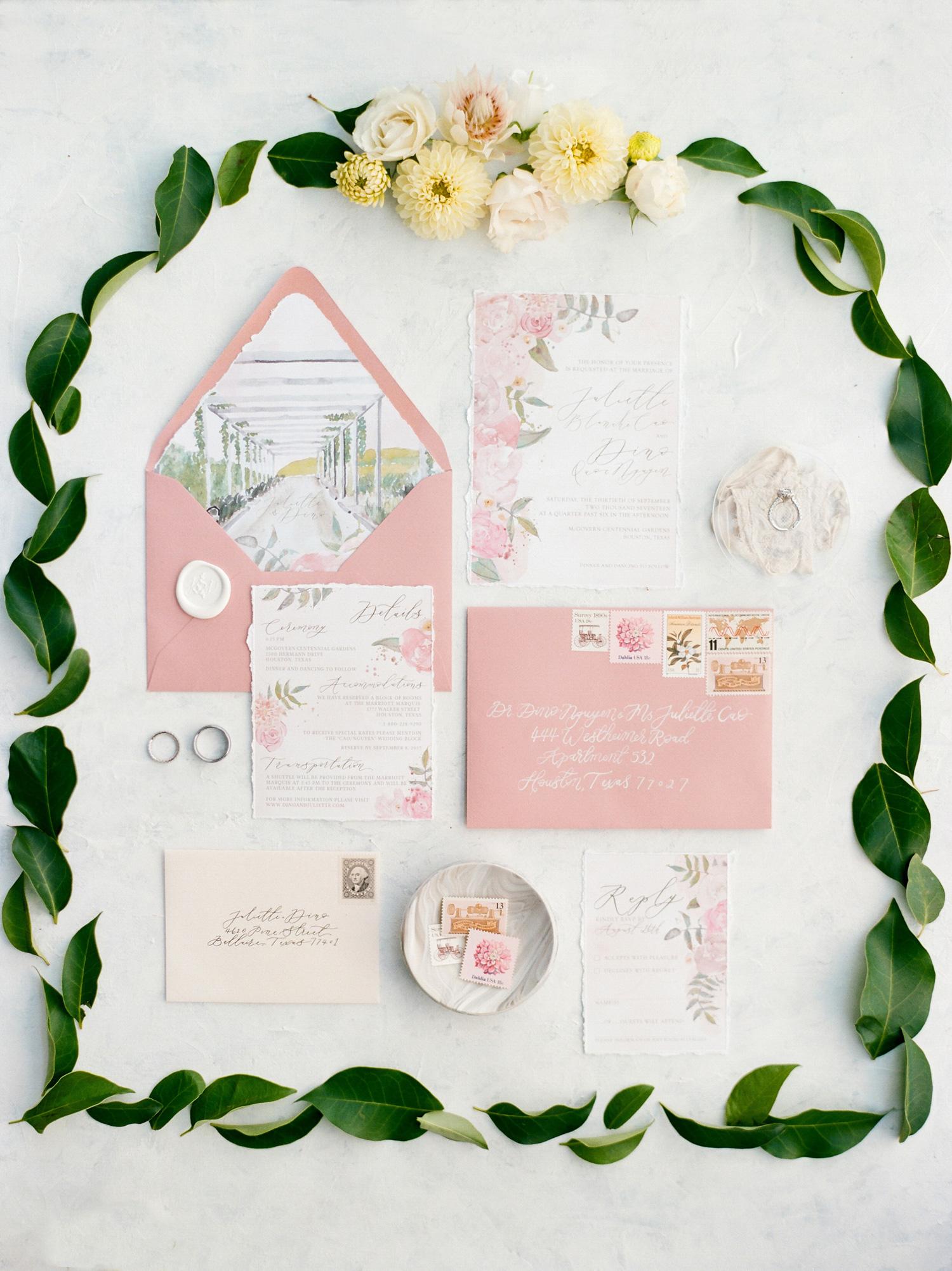 envelope liner scene water color invitations