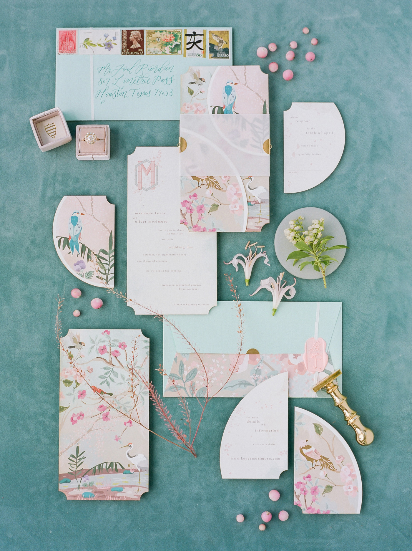 birds and blooms watercolor wedding invites