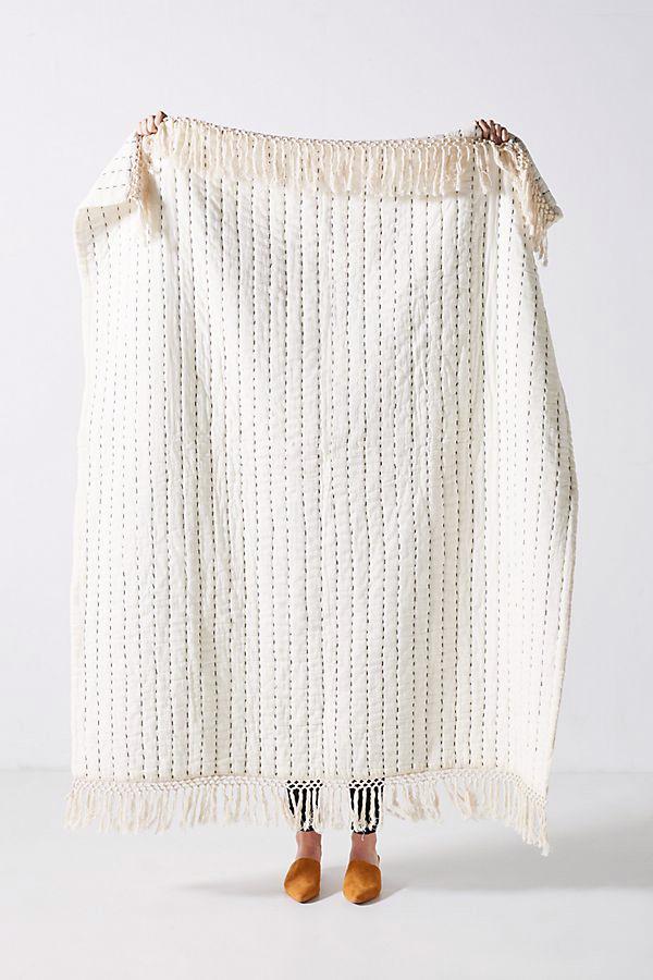 anthropologie kantha-stitched nevin throw blanket