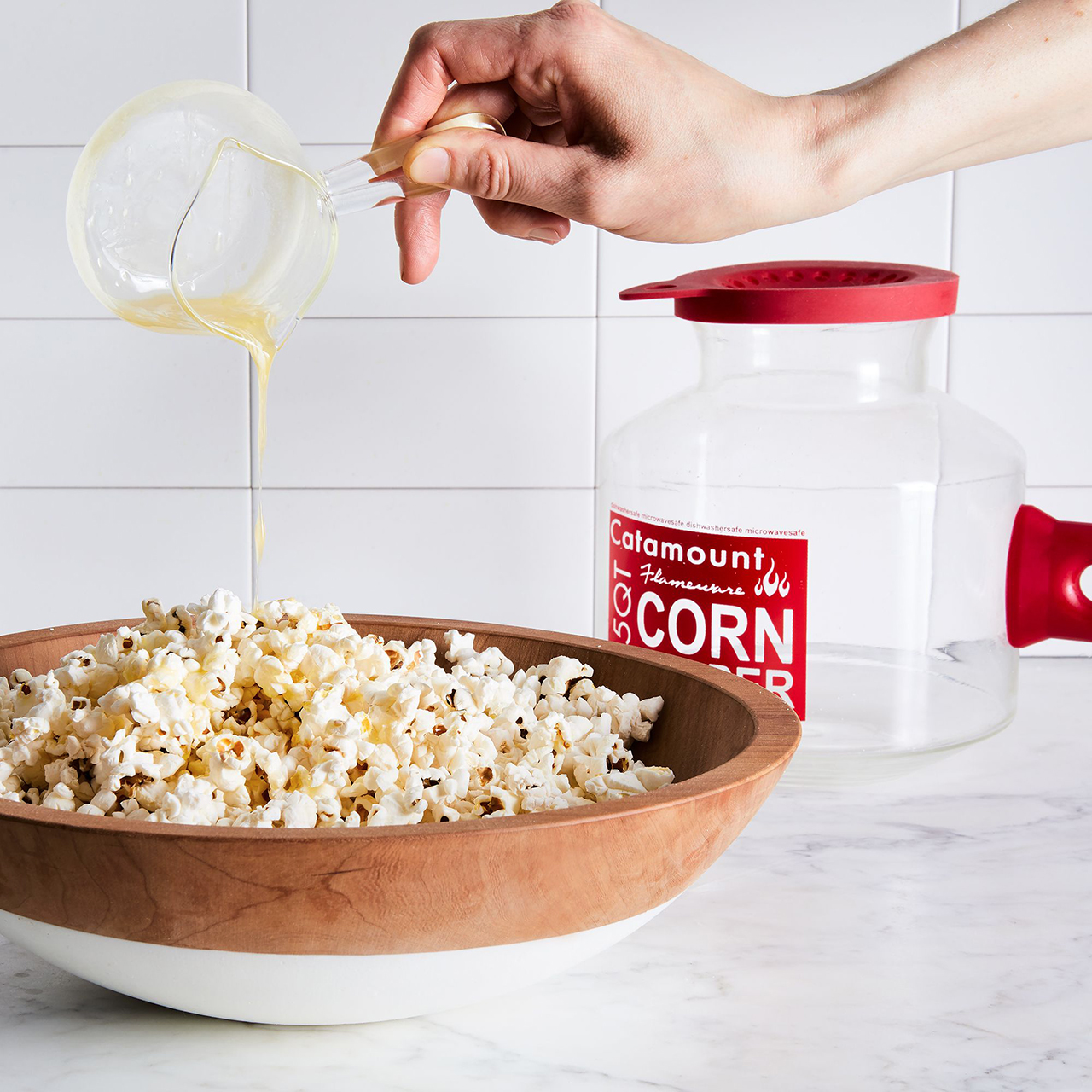 catamount silicone handled glass popcorn popper and butter warmer
