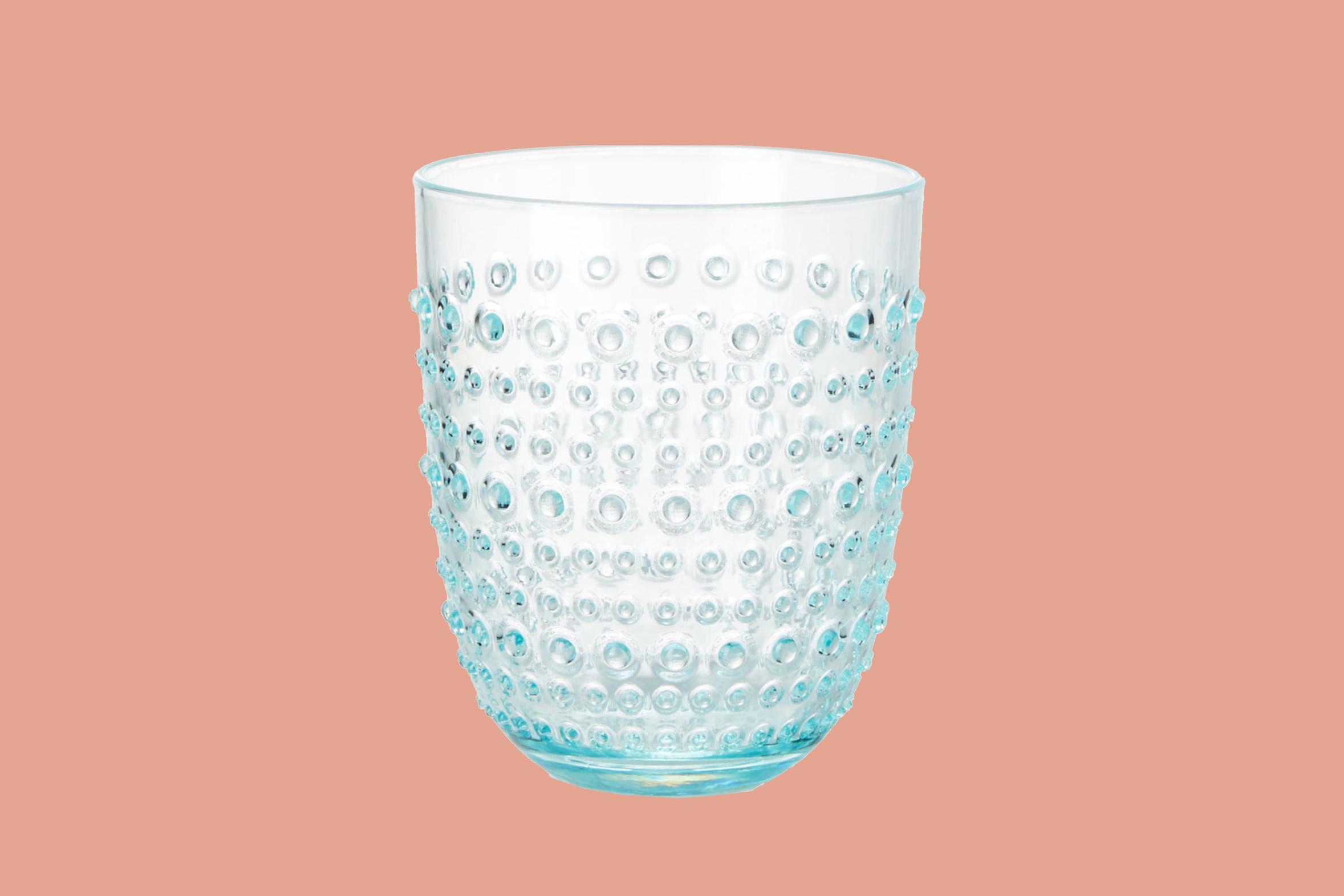 "crate and barrel ""dottie"" aqua acrylic drink glass"