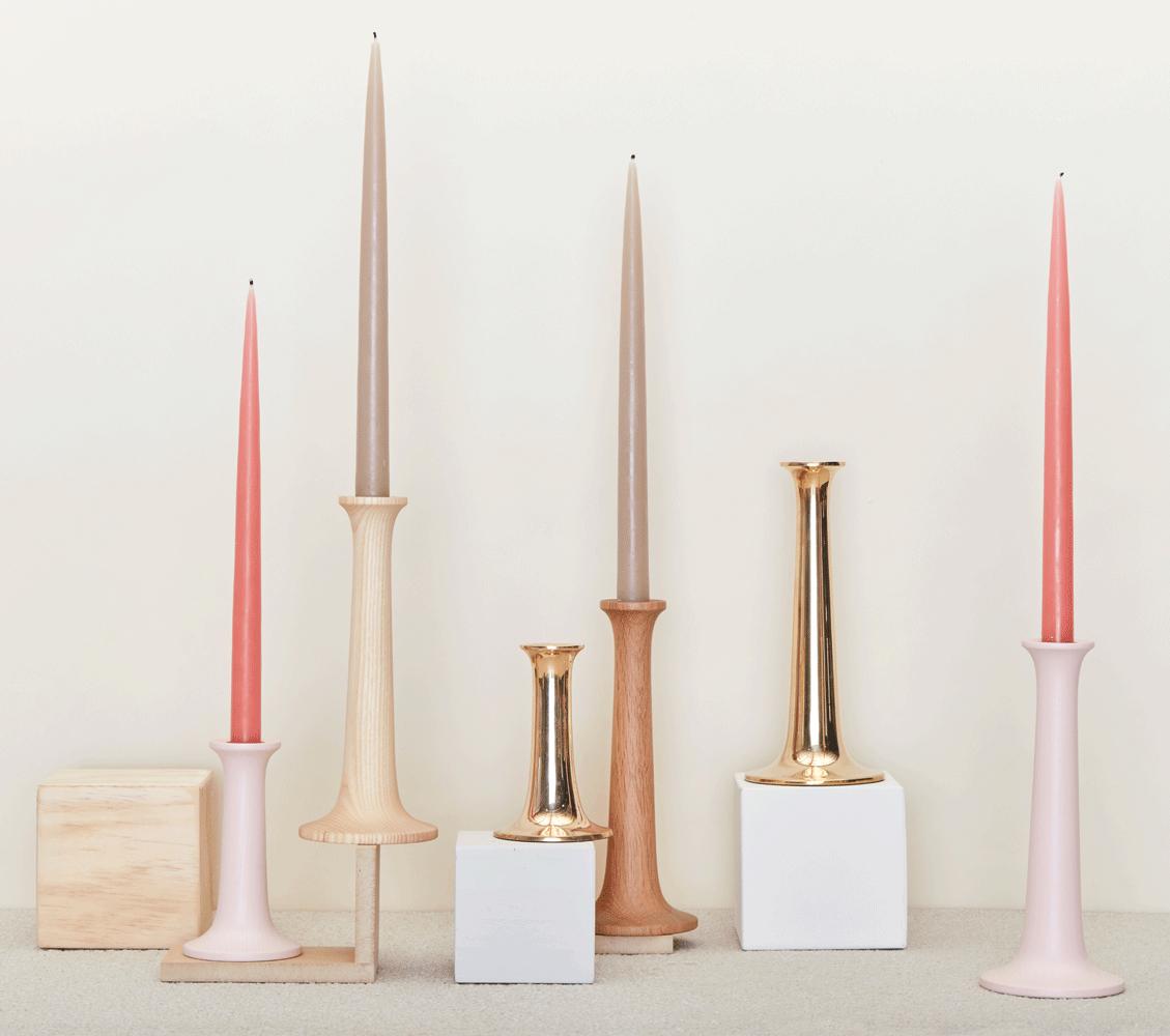 hawkins new york simple oak + maple candle holders