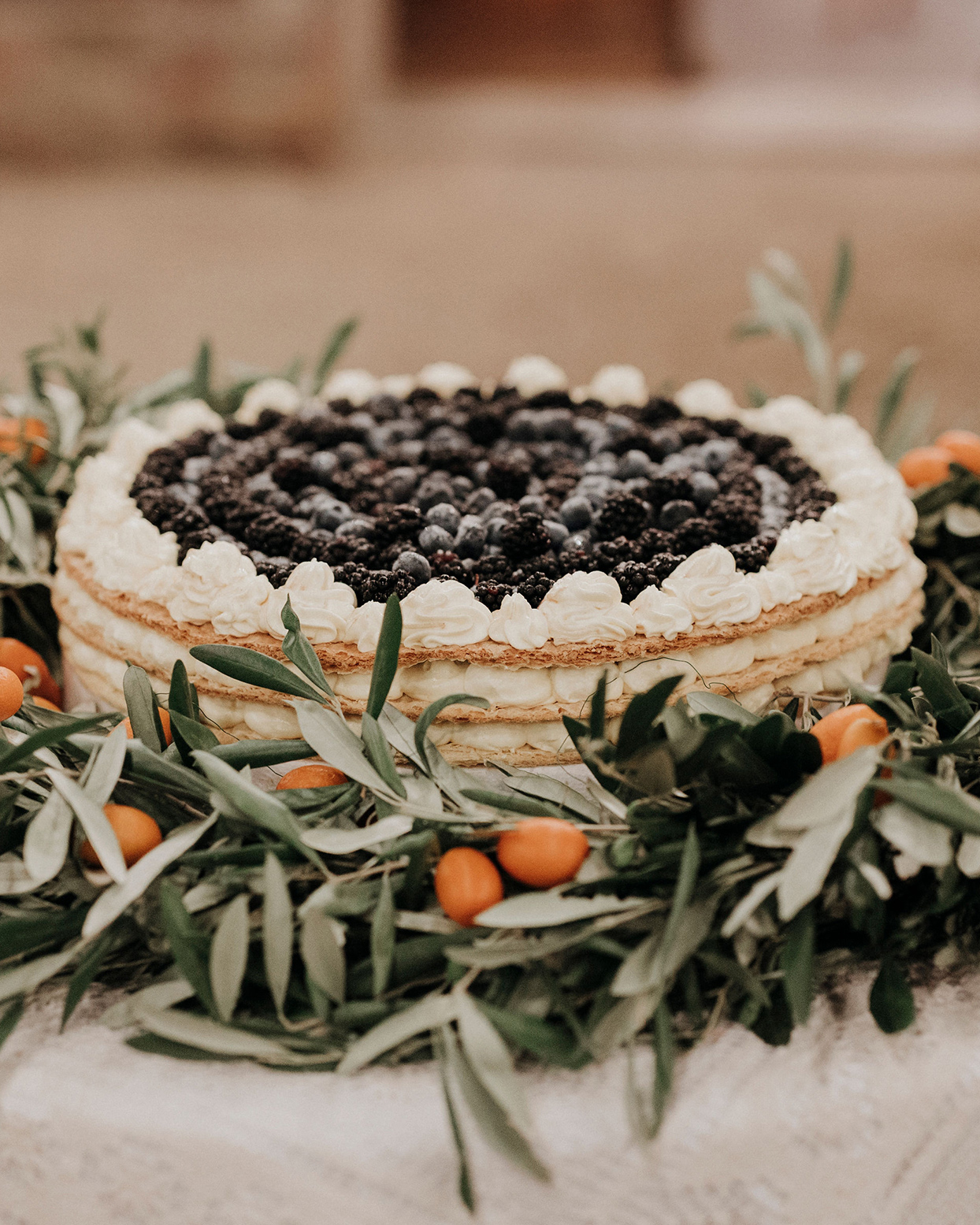 jaclyn antonio wedding layer cake with berries
