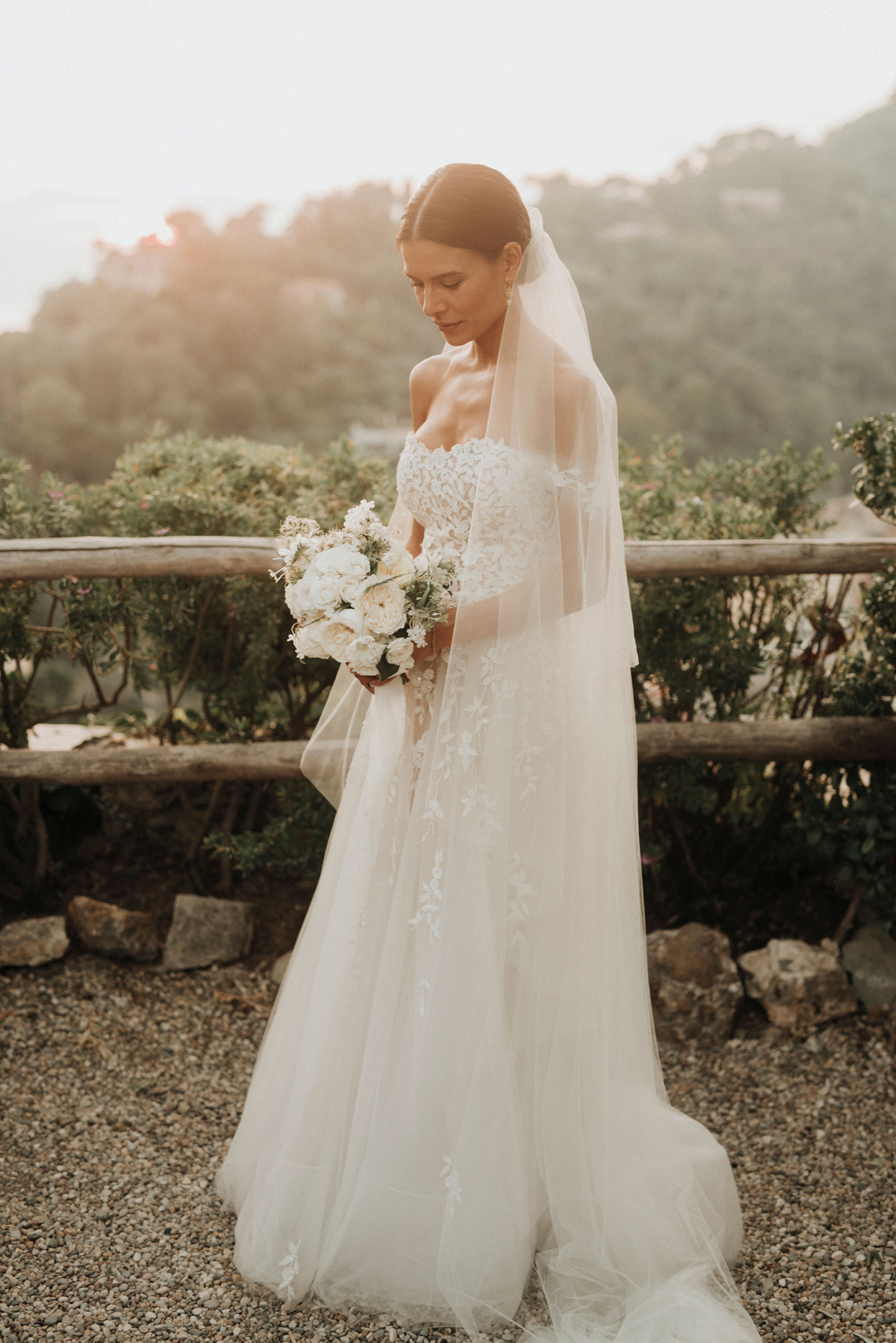 jaclyn antonio wedding bride in elegant lace and tool dress