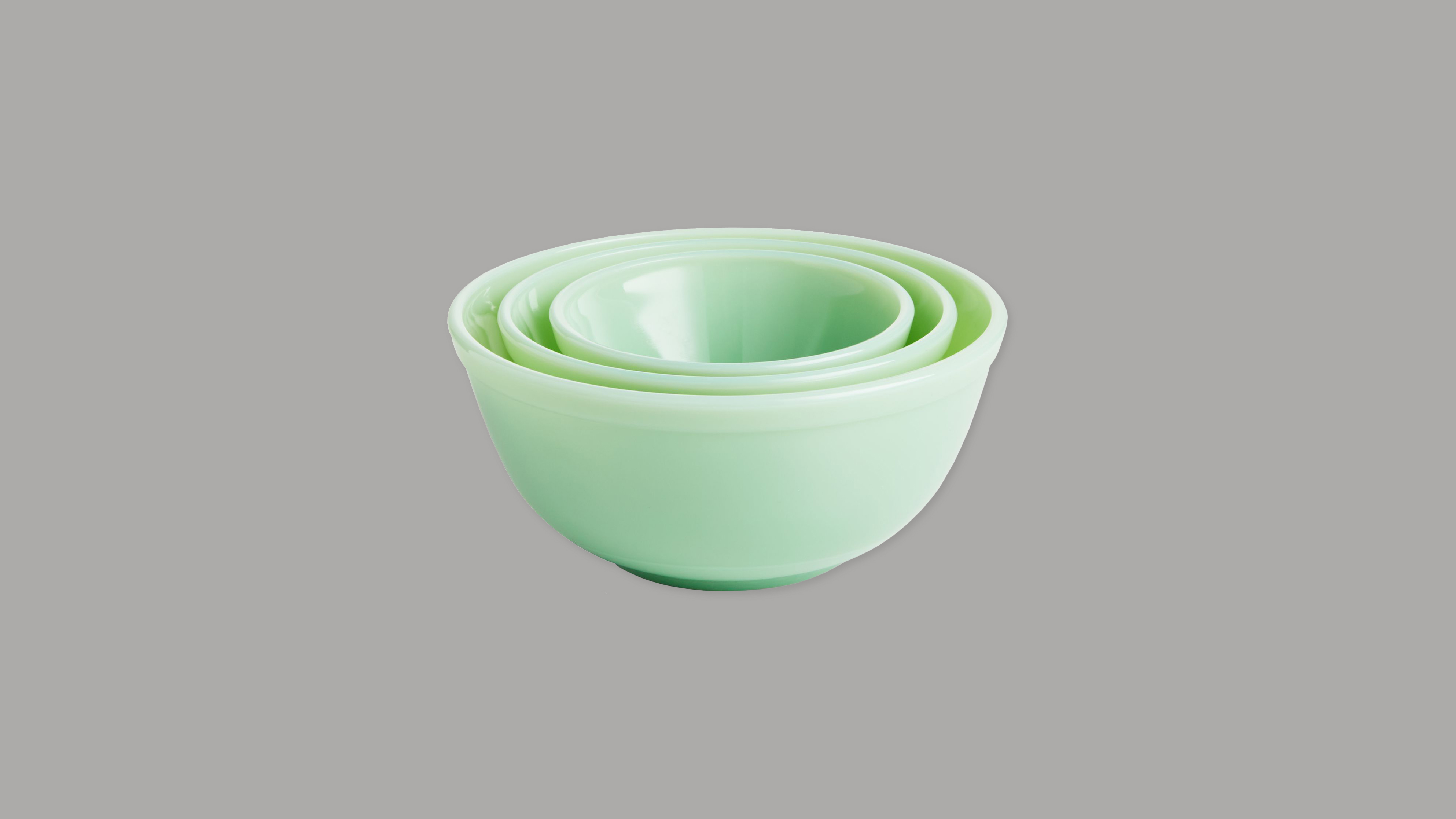 "Crate and Barrel ""Mosser"" Jadeite Mixing Bowls"