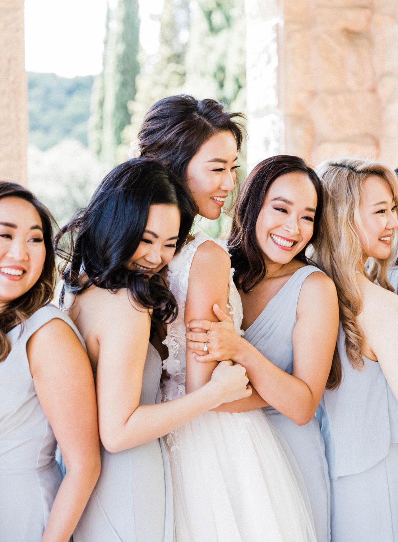 bridesmaids blue chiffon dresses