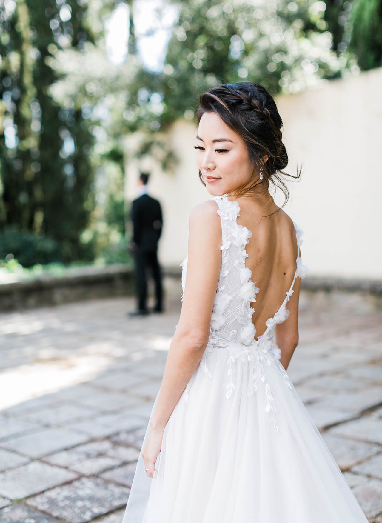 custom-made intricate lace bodi wedding dress