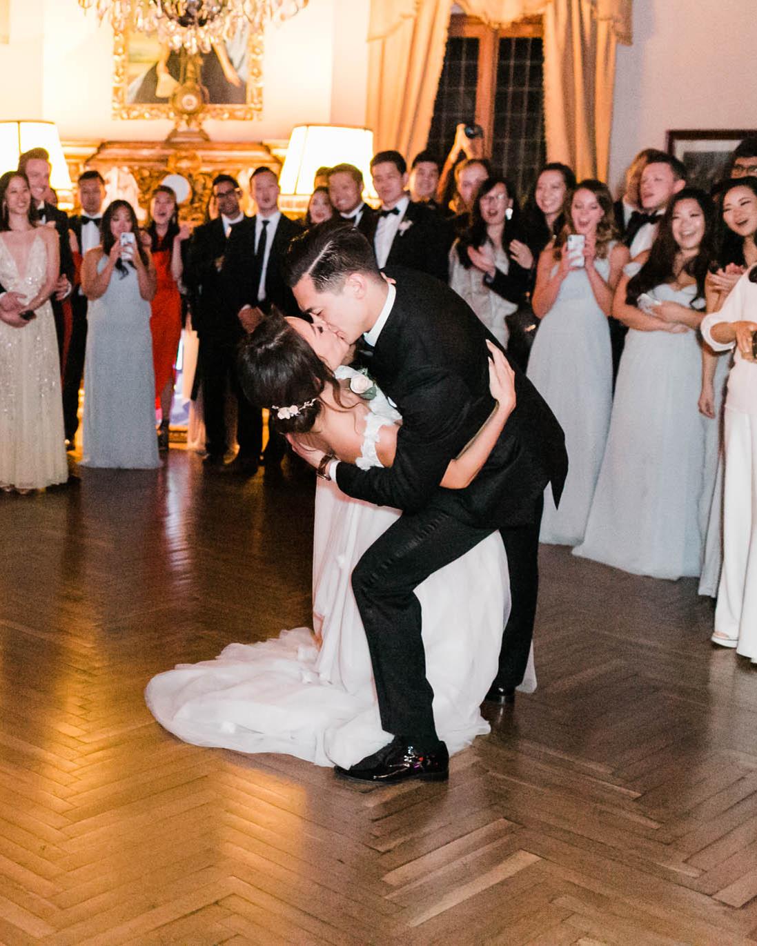 bride groom first dance kiss reception