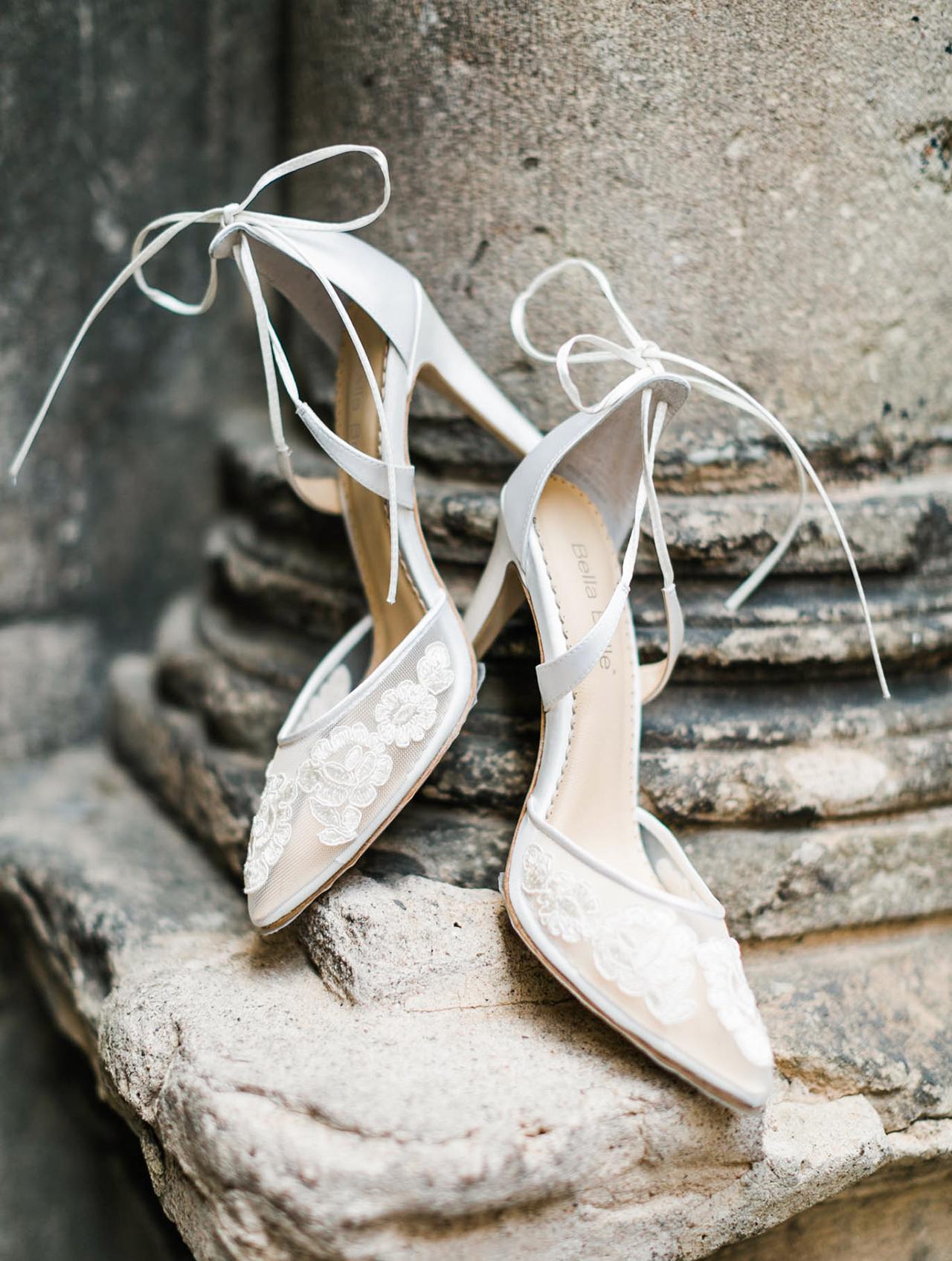 brides white chanel sling backs shoes
