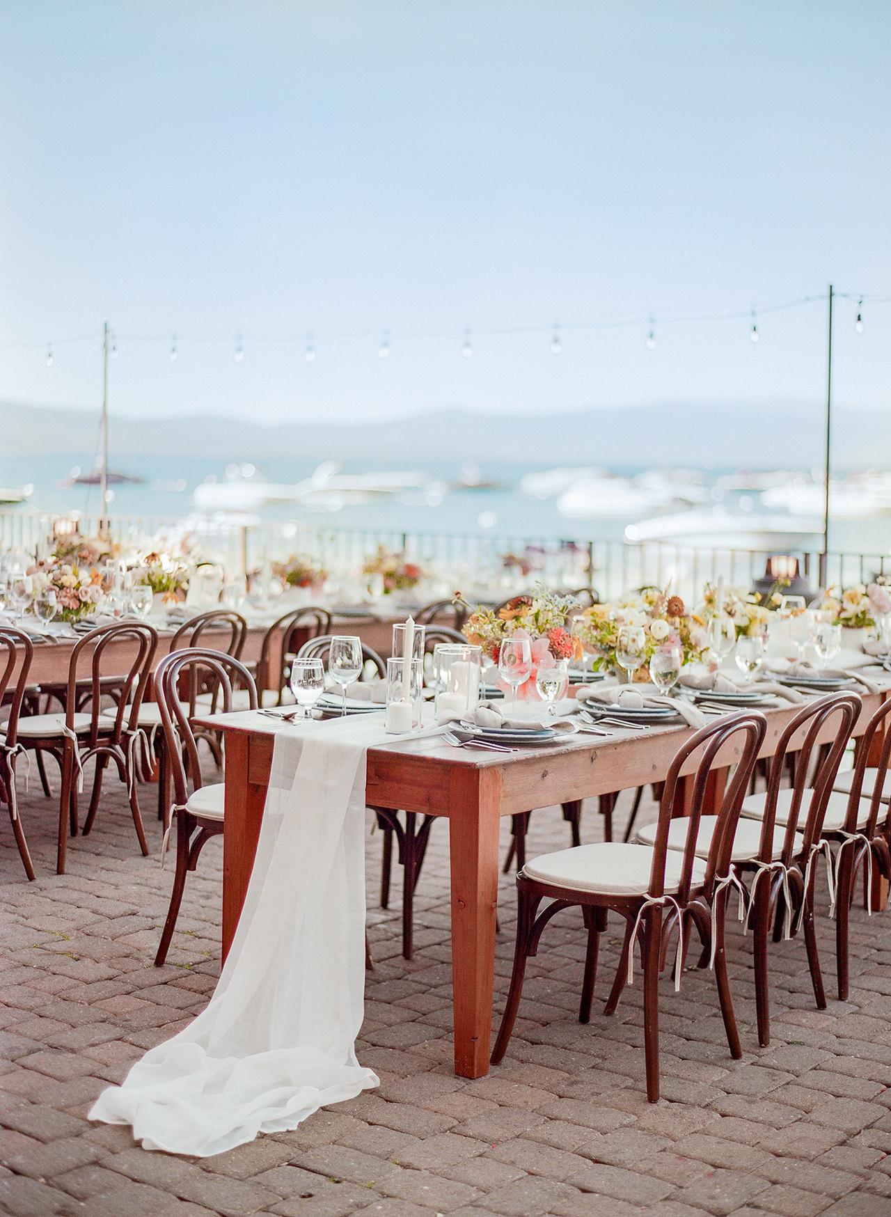 reception wooden farm tables harbor view