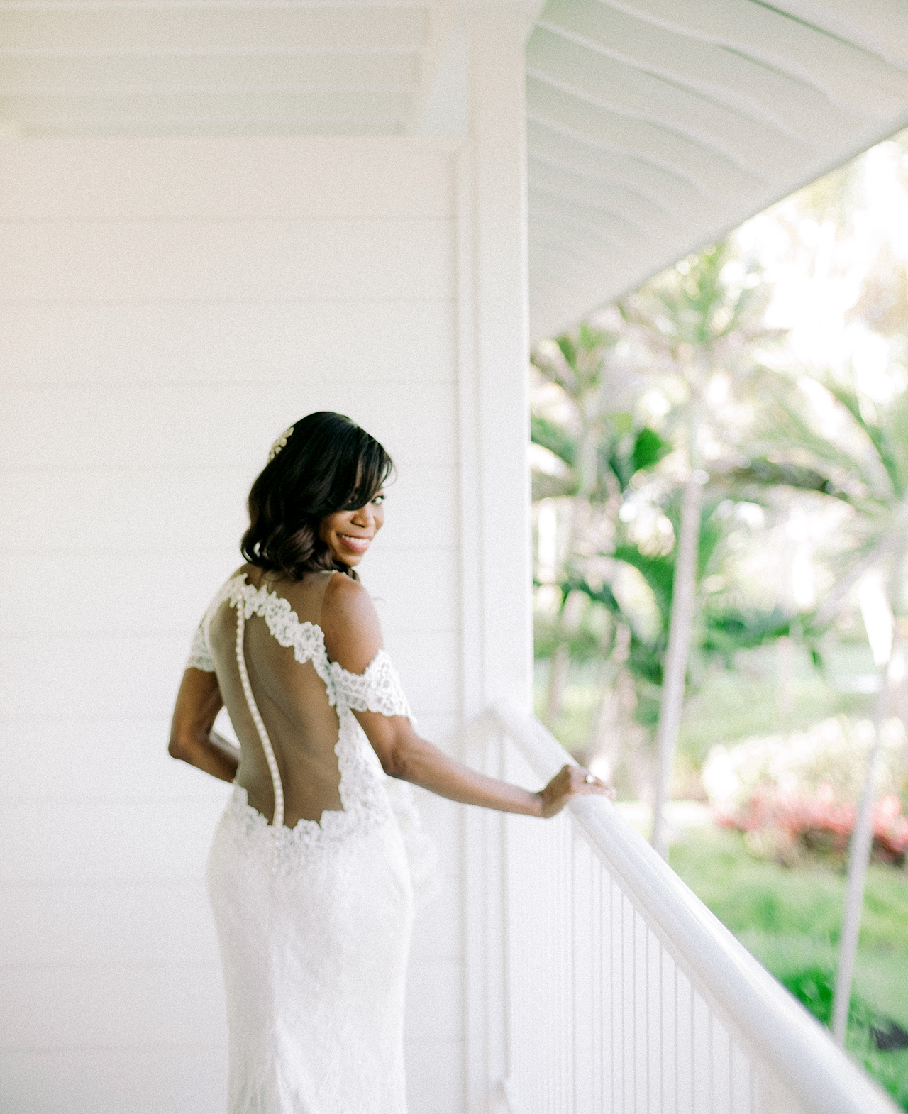 off the shoulder antique ivory Italian lace wedding dress