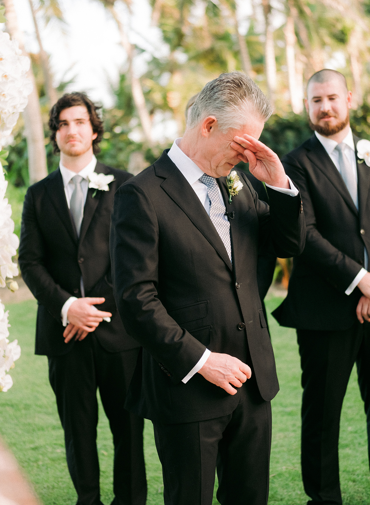 emotional father outdoor wedding