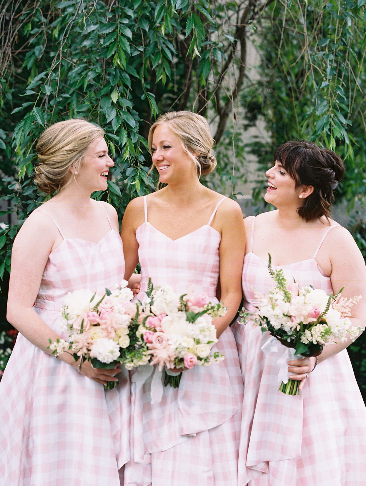 gigi kyle wedding bridesmaids in pastel pink plaid dresses
