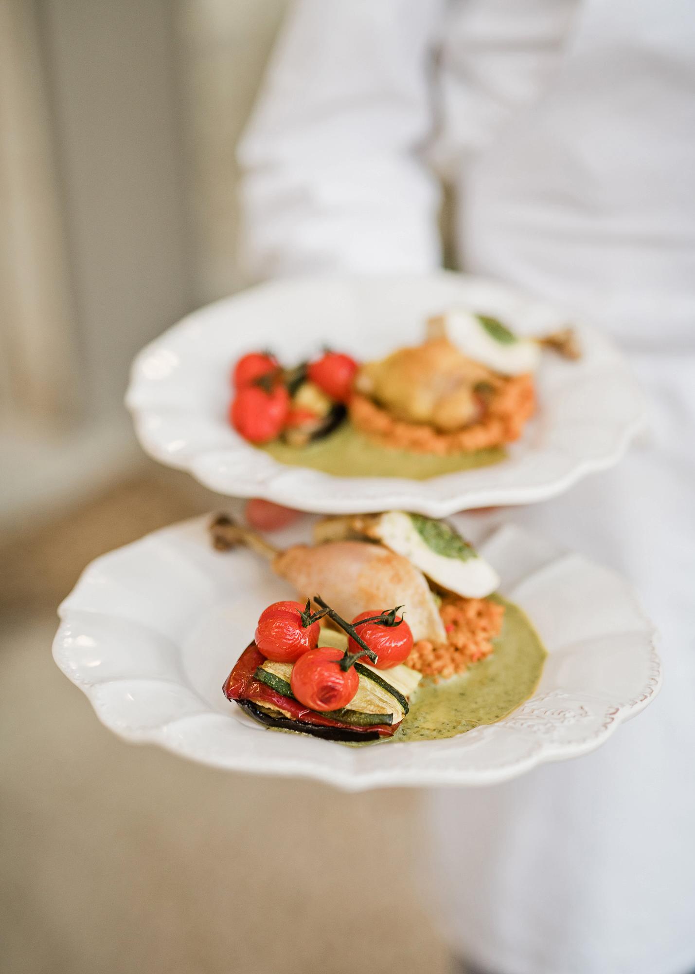 samantha grayson wedding serving plates of food