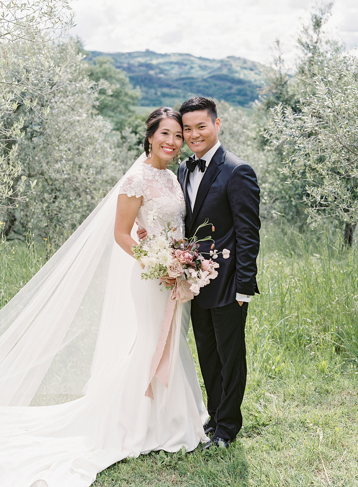 jen alan wedding couple against mountain backdrop