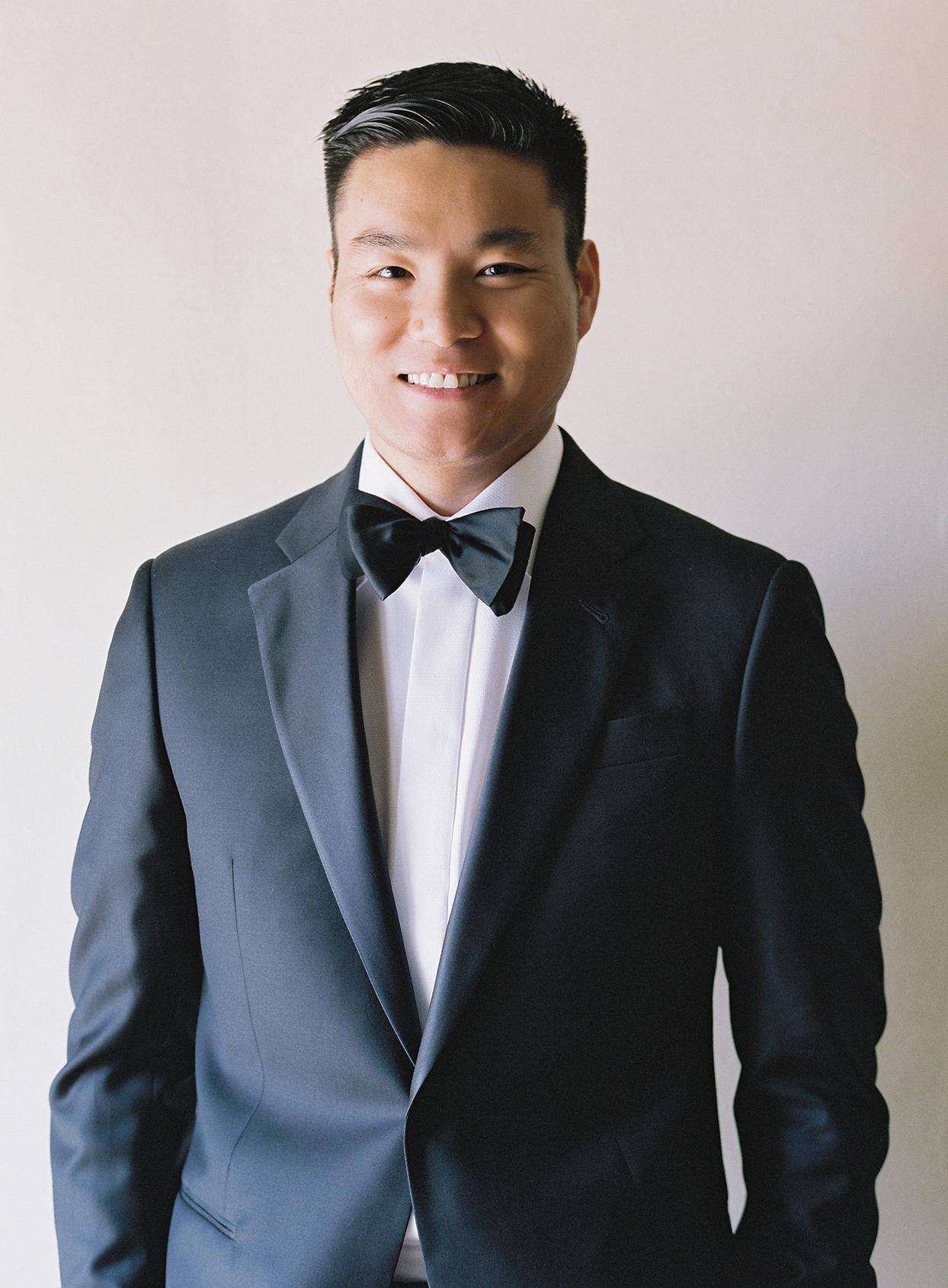 jen alan wedding groom in bow tie