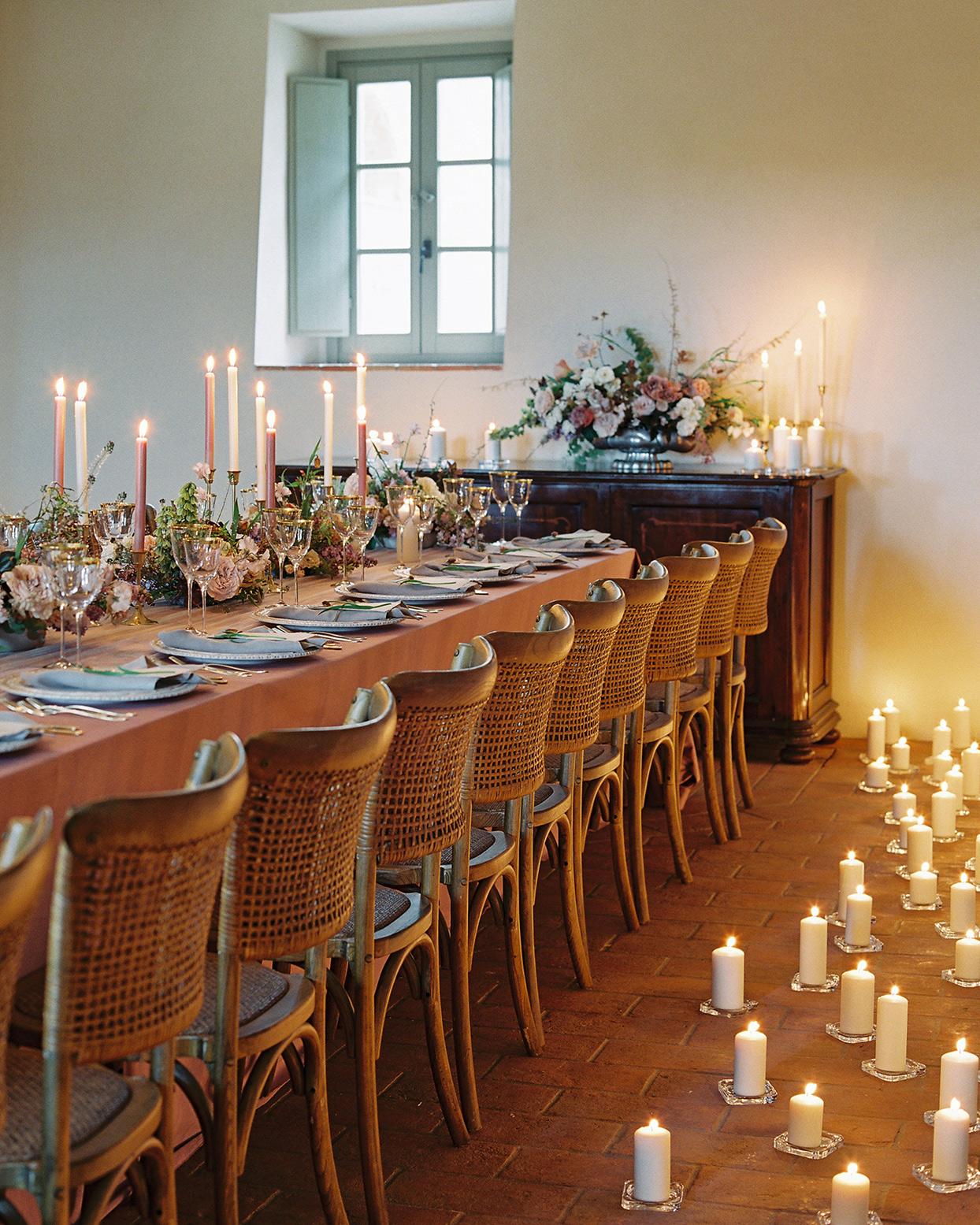 jen alan wedding reception candles on the floor