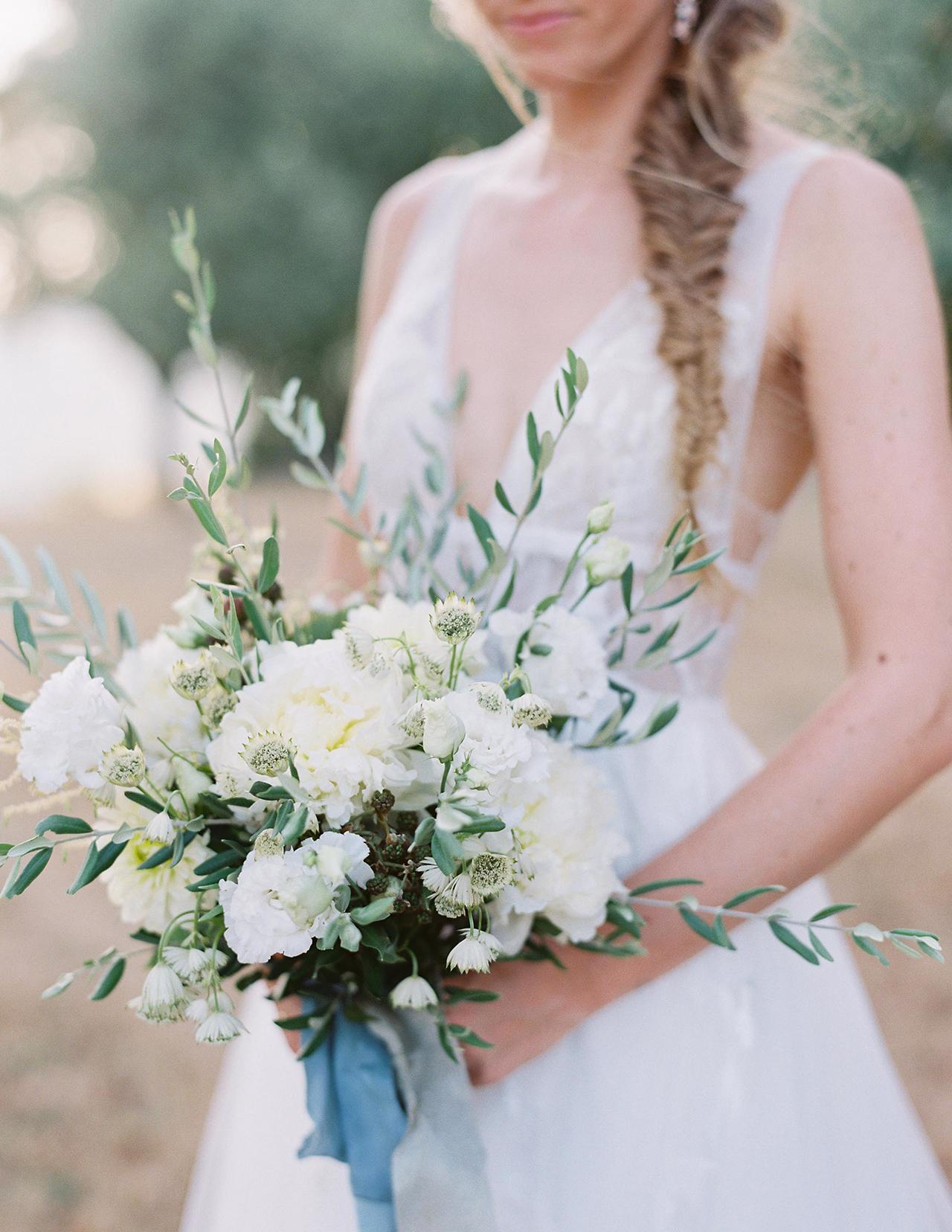 bride white floral bouquet blue silk ribbon