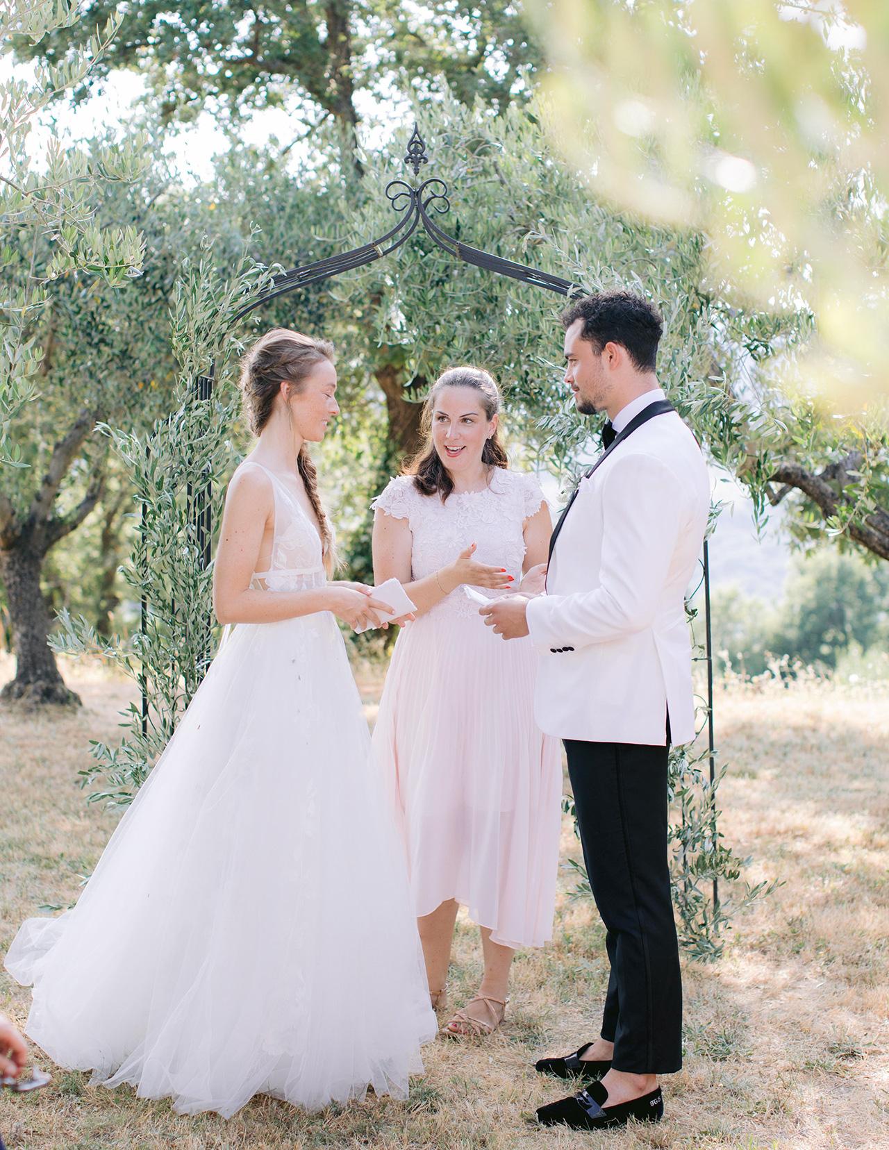 bride groom wedding vow exchange friend officiant